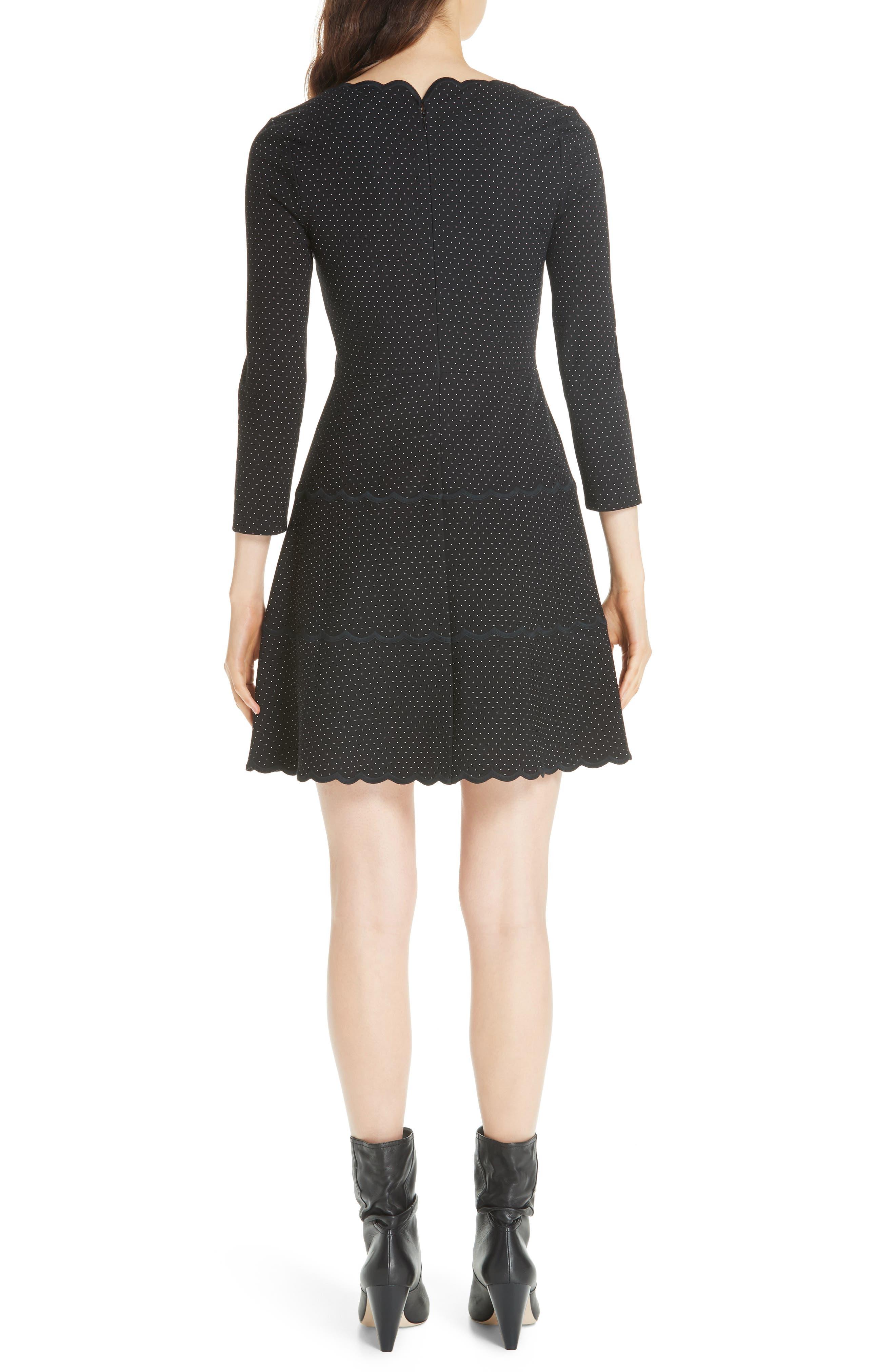 pin dot scallop ponte fit & flare dress,                             Alternate thumbnail 2, color,                             001