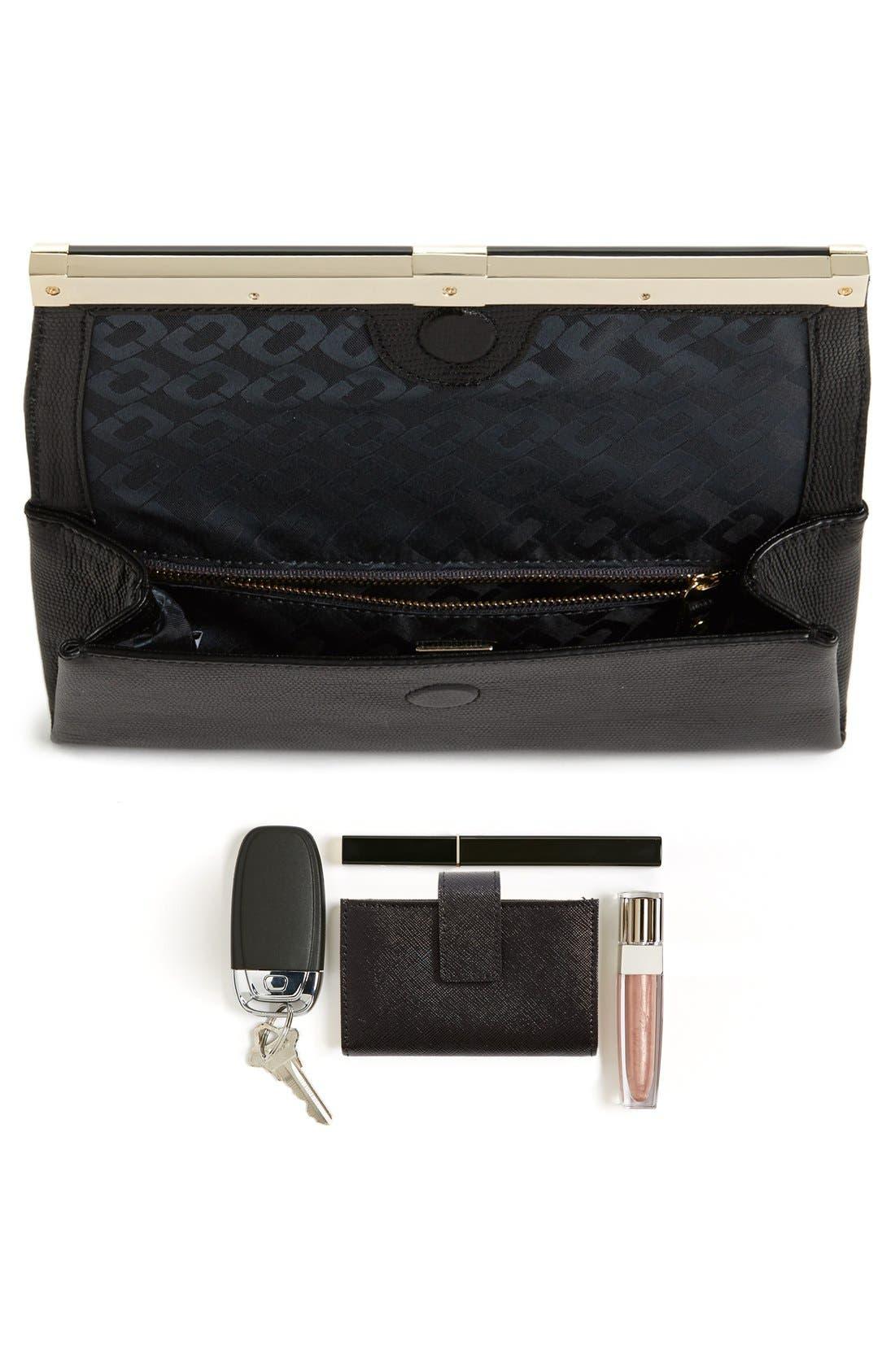 '440' Leather Envelope Clutch,                             Alternate thumbnail 4, color,                             002