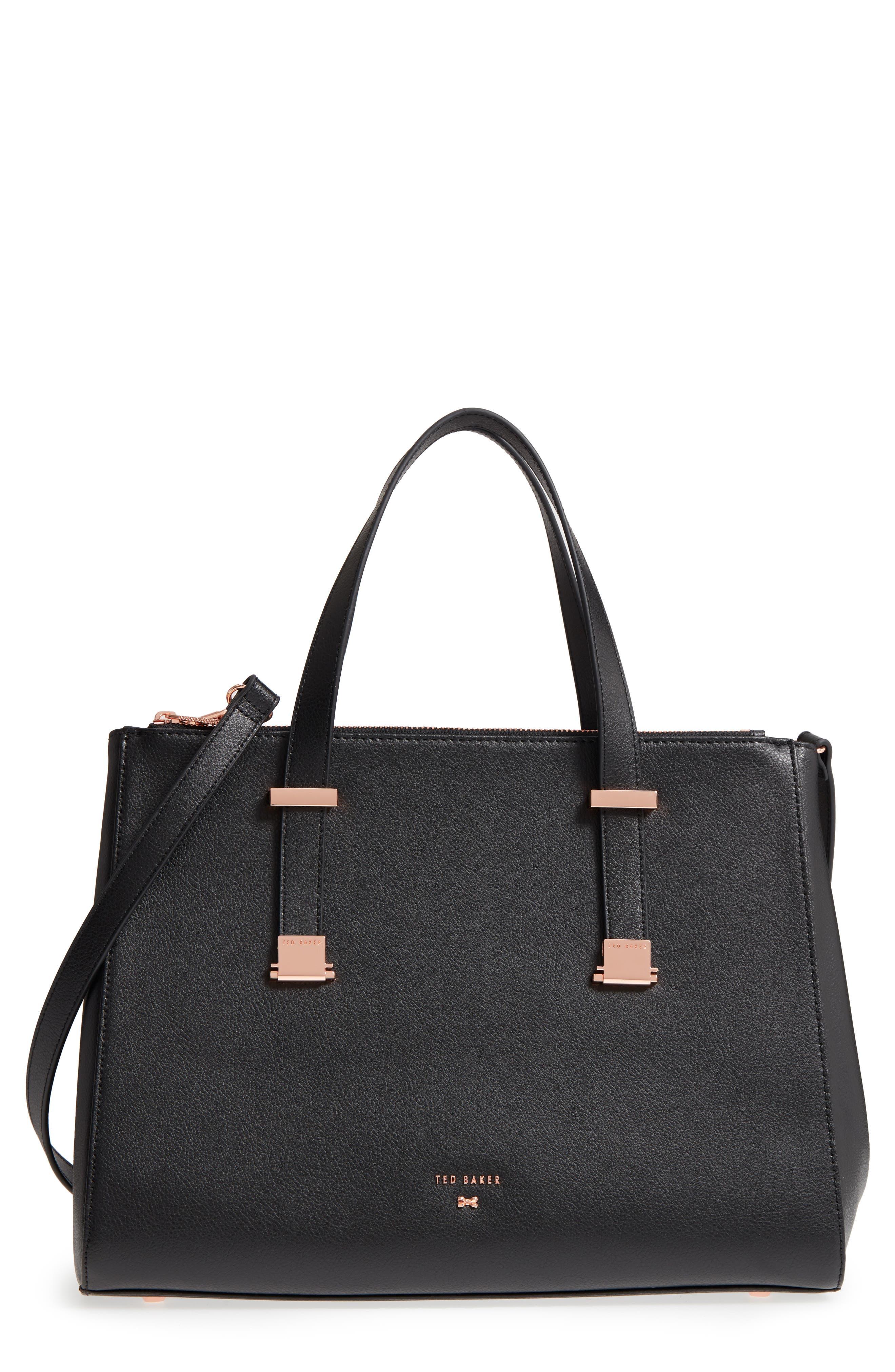Aminaa Large Adjustable Handle Leather Shopper,                             Main thumbnail 1, color,                             001