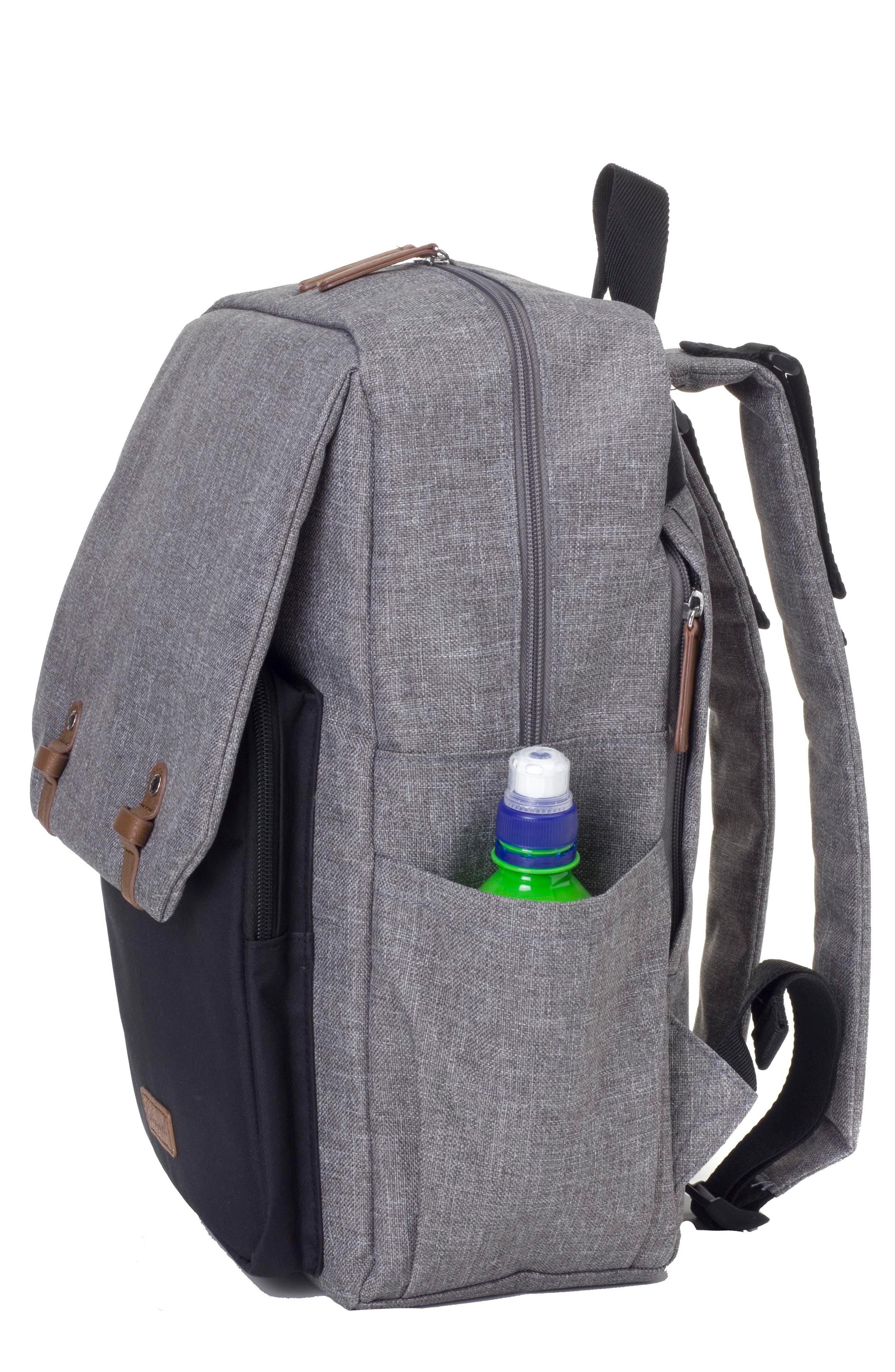 George Water Resistant Diaper Backpack,                             Alternate thumbnail 8, color,                             BLACK/ GREY