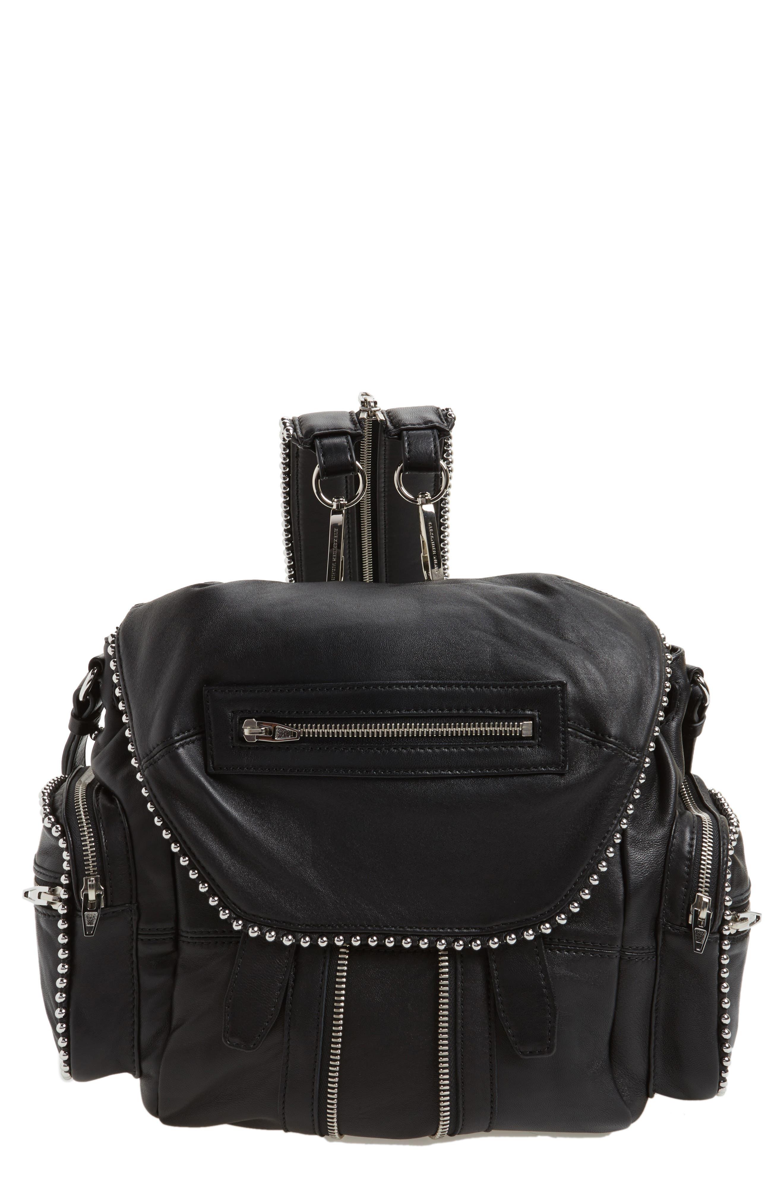 Mini Marti Ball Stud Leather Backpack,                         Main,                         color, 001
