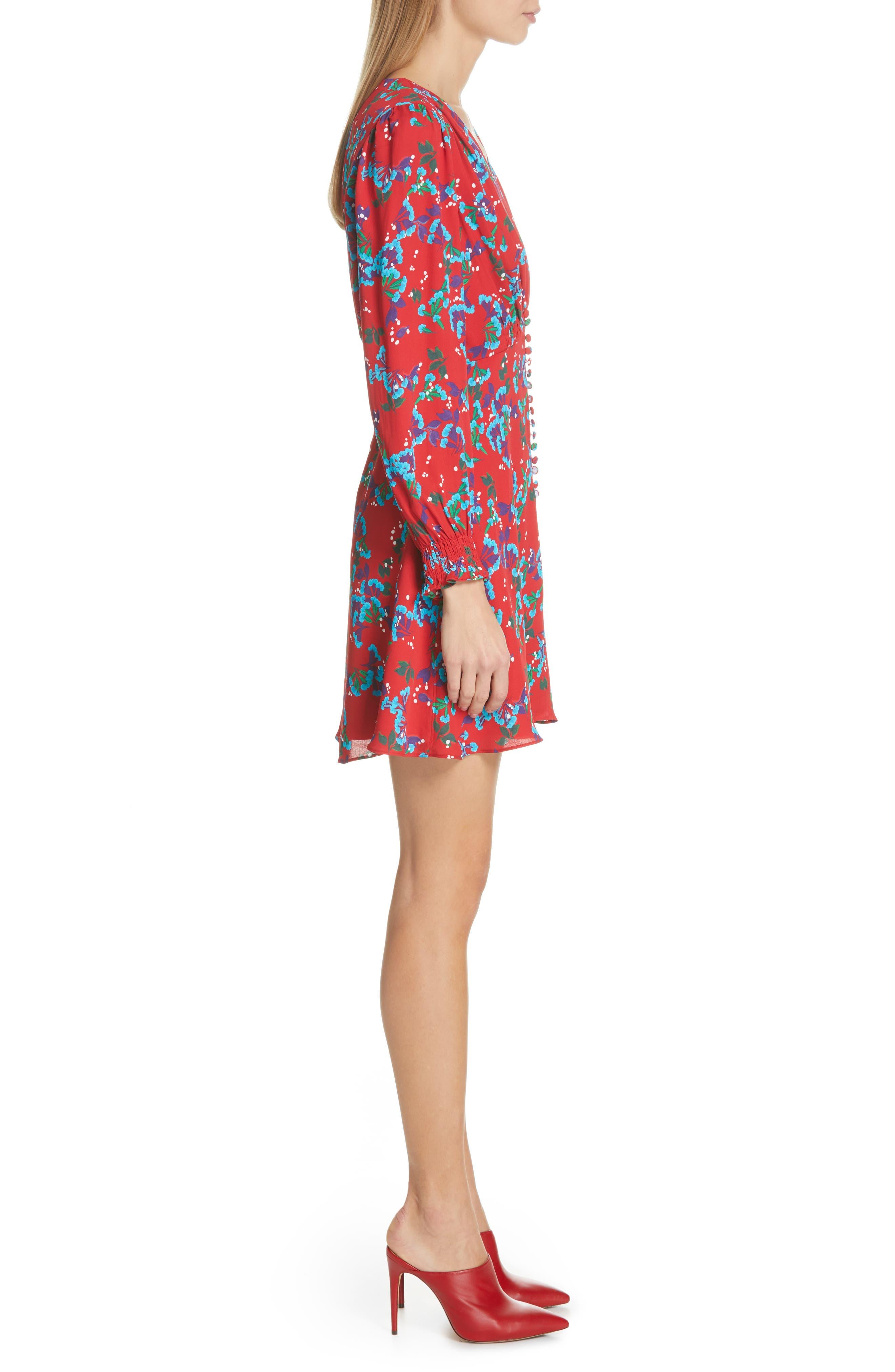Eve Floral Print Dress,                             Alternate thumbnail 3, color,                             SCARLET SWEETPEAS