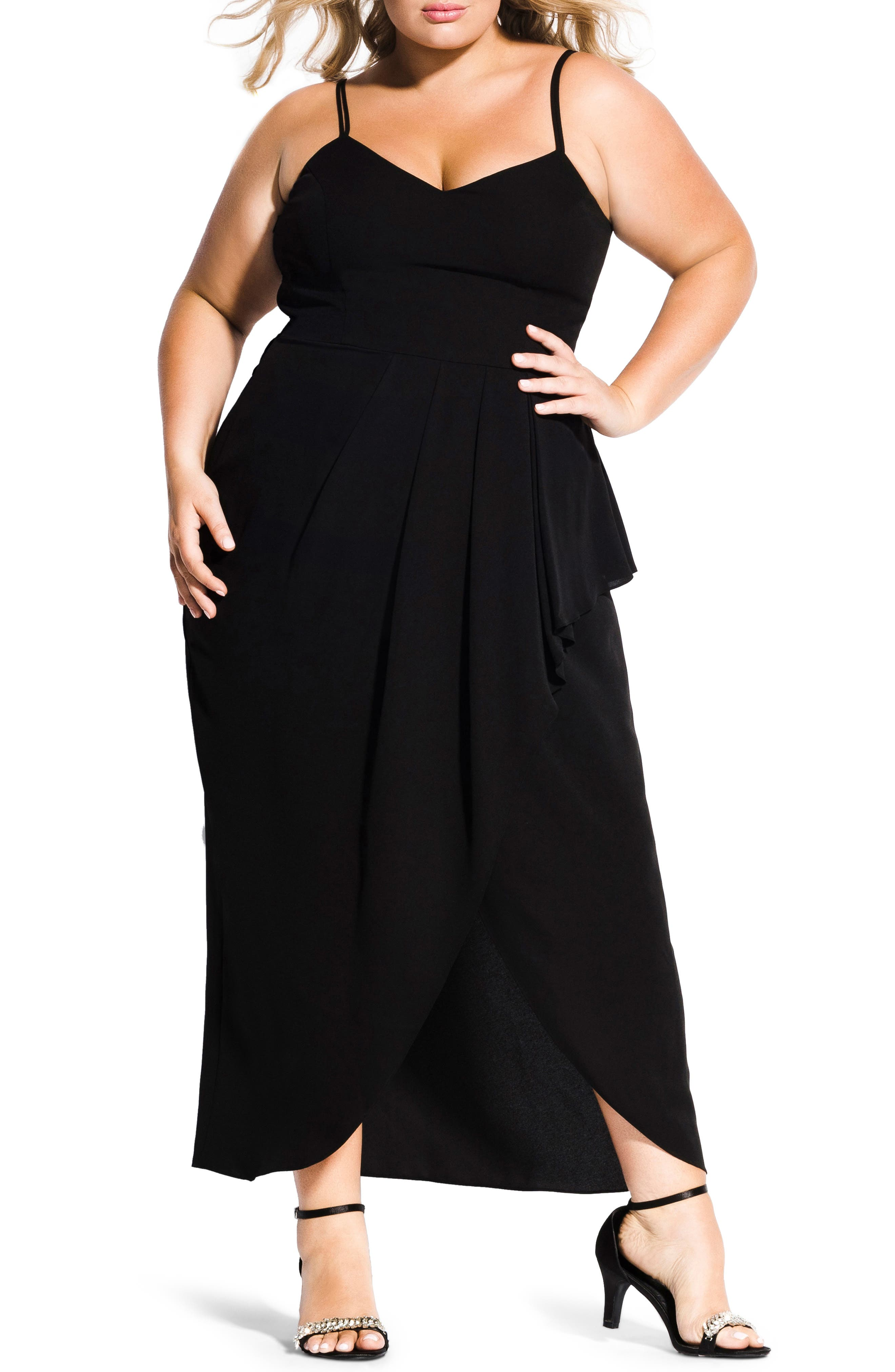Romance Maxi Dress,                         Main,                         color, BLACK
