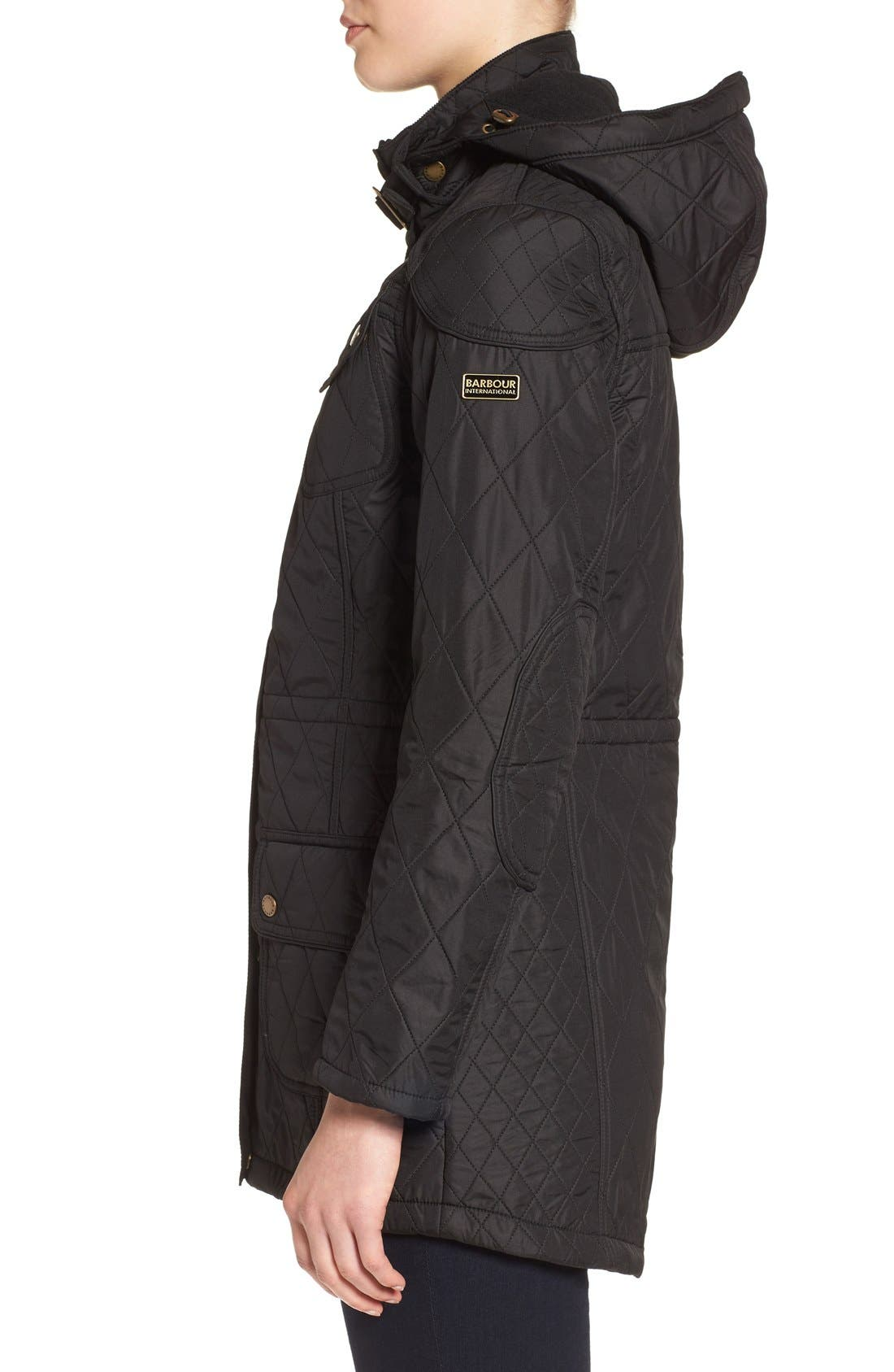 'Arrow' Quilted Anorak,                             Alternate thumbnail 4, color,                             BLACK