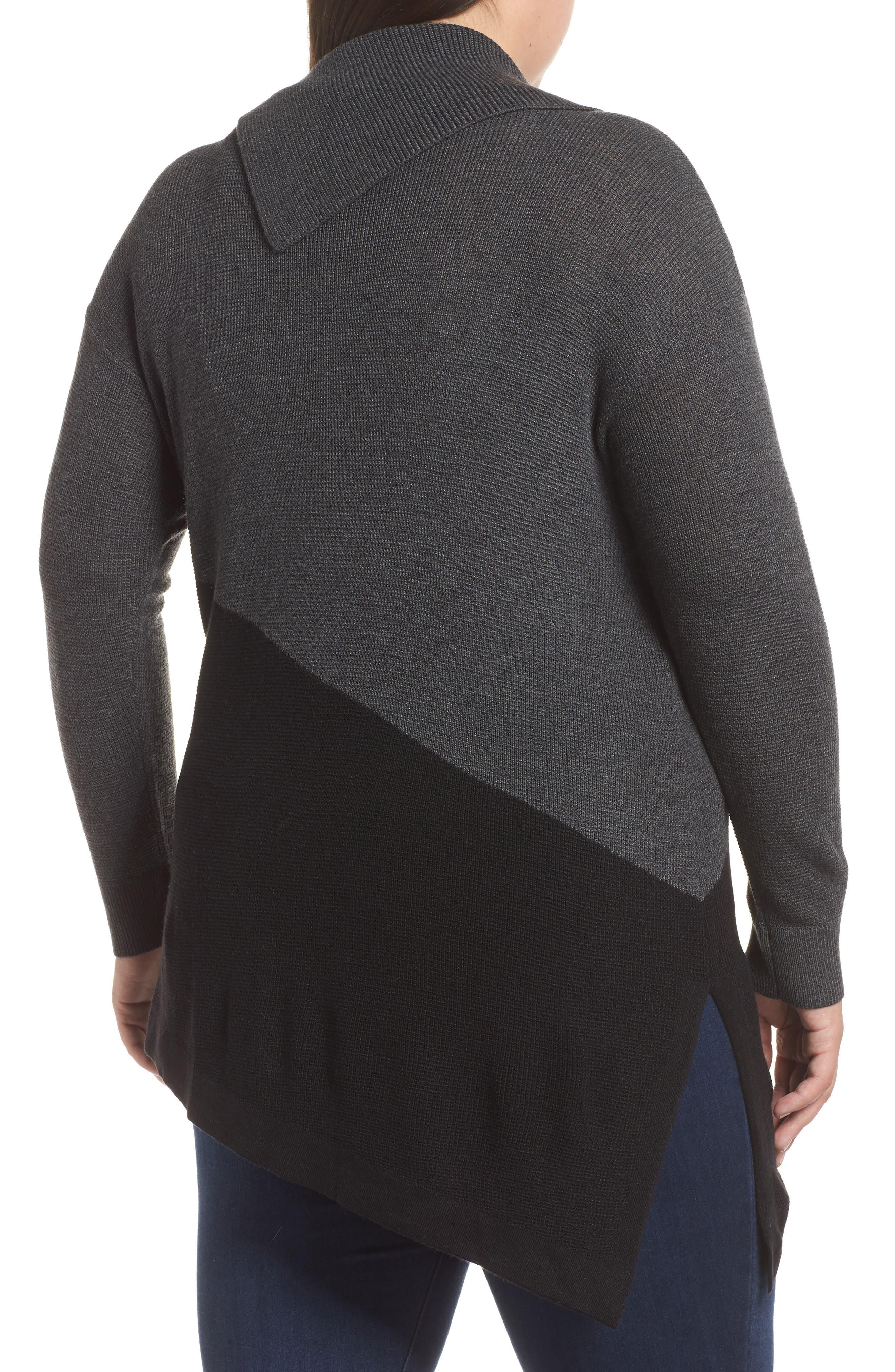 Asymmetrical Colorblock Sweater,                             Alternate thumbnail 2, color,                             MEDIUM HEATHER GREY