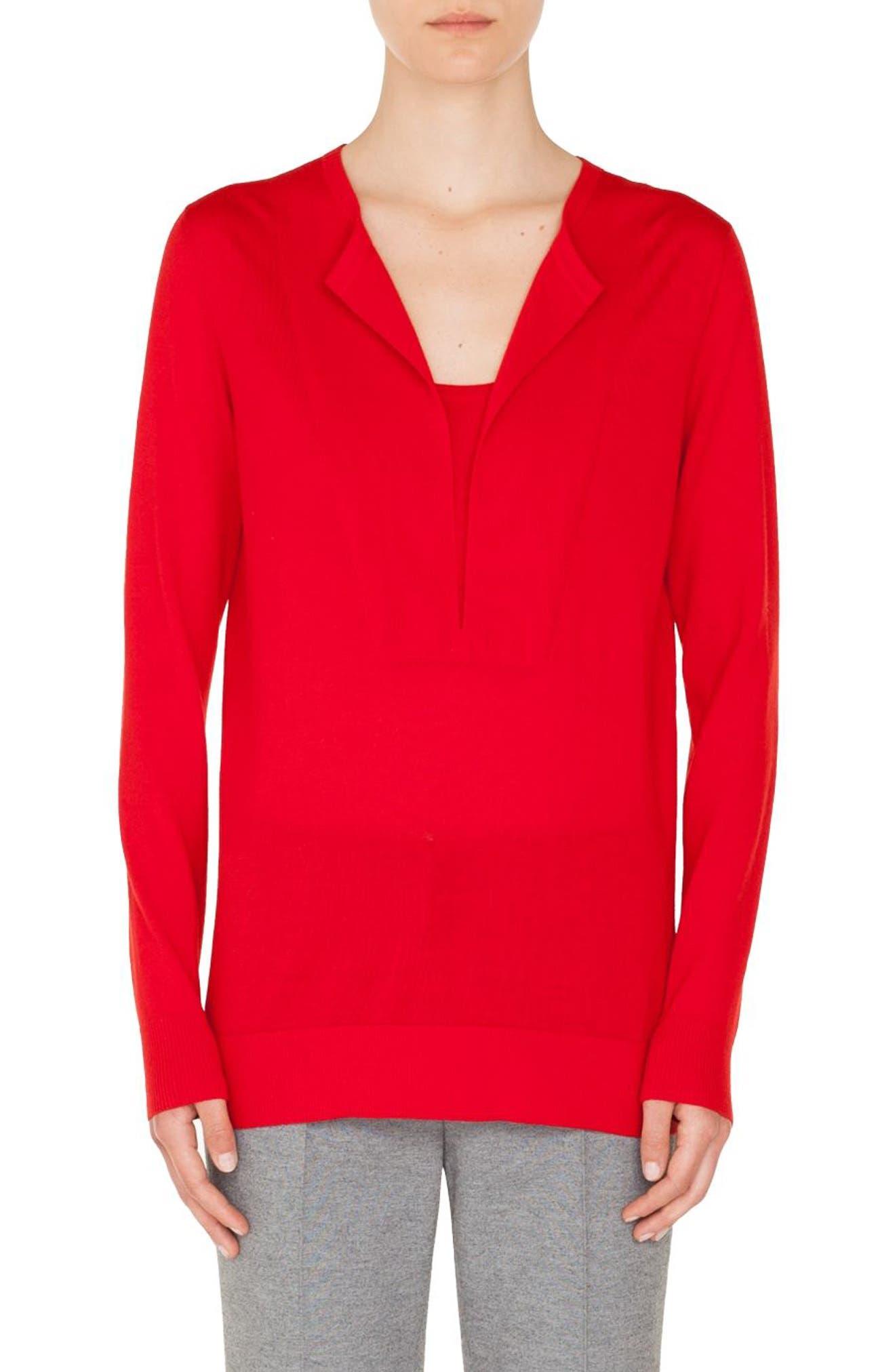 Trompe l'Oeil Wool Sweater,                             Main thumbnail 1, color,                             606