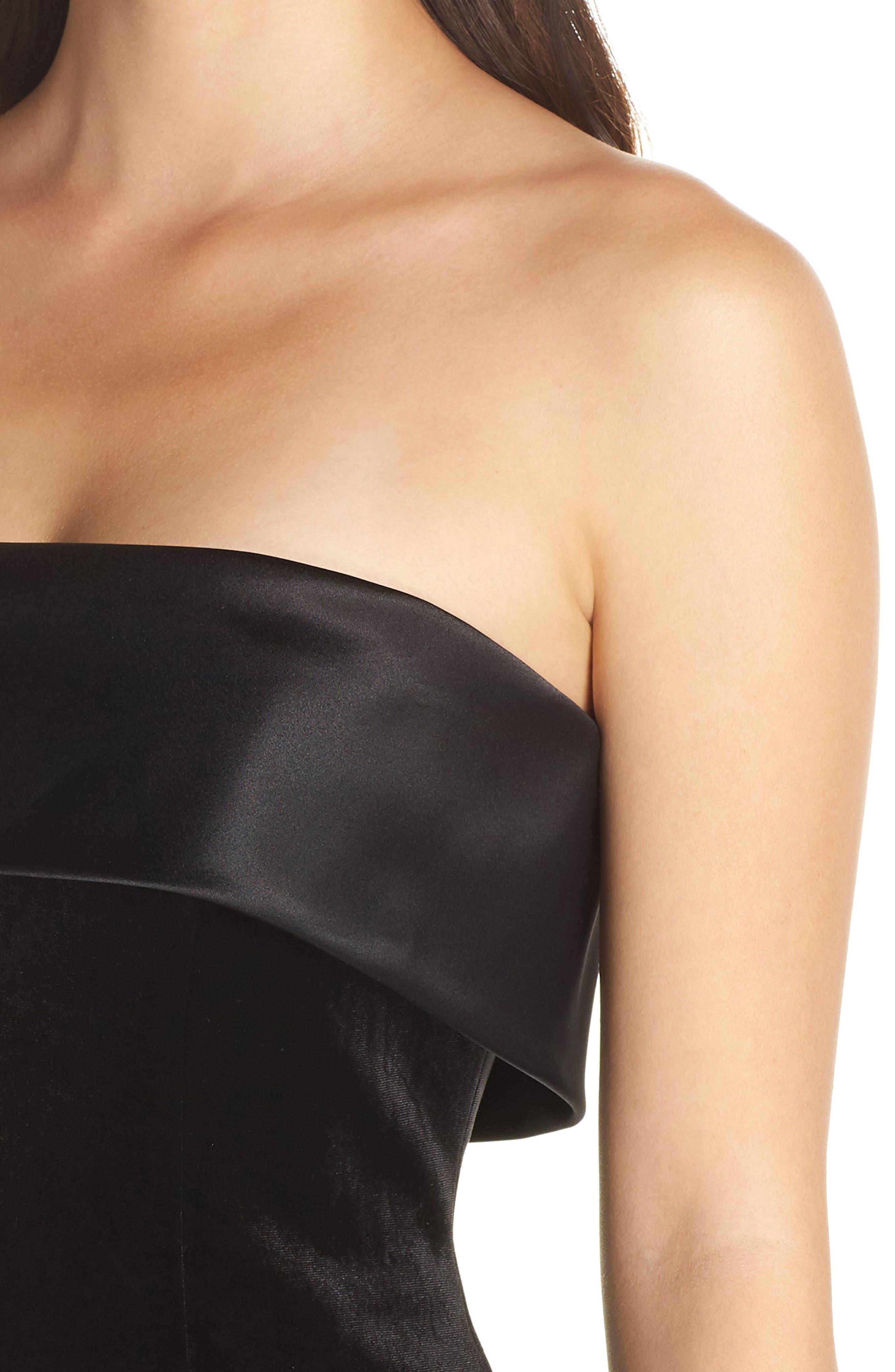 ELIZA J,                             Strapless Shift Dress,                             Alternate thumbnail 4, color,                             BLACK