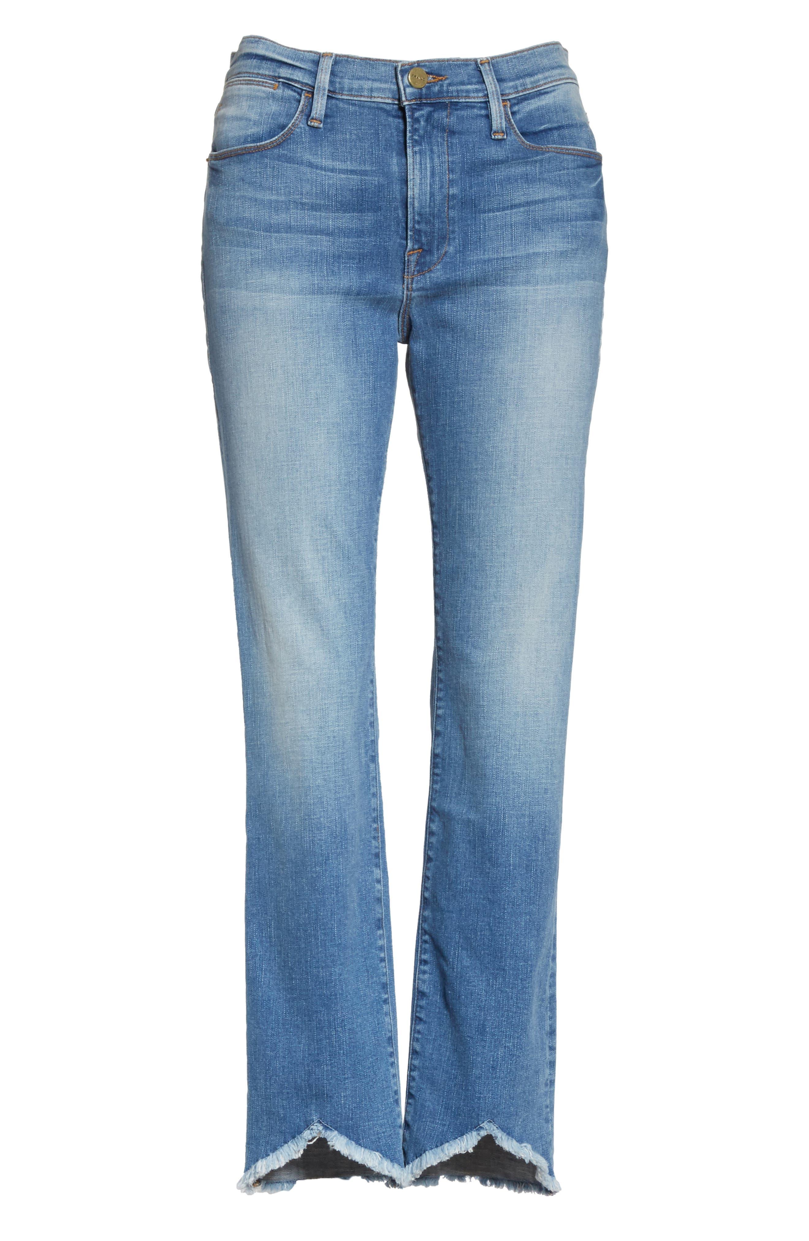 Le High Straight High Waist Triangle Hem Jeans,                             Alternate thumbnail 7, color,                             450