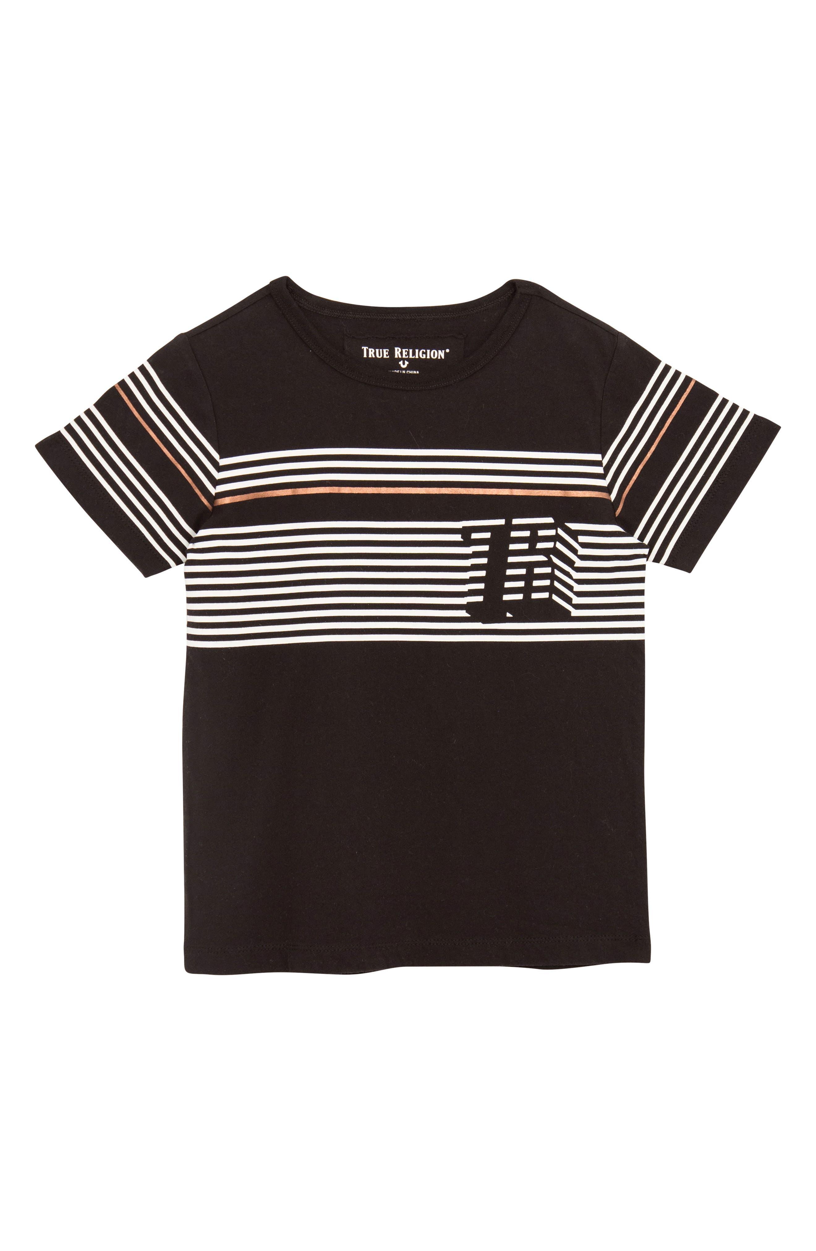 Pop Stripe T-Shirt,                         Main,                         color, BLACK