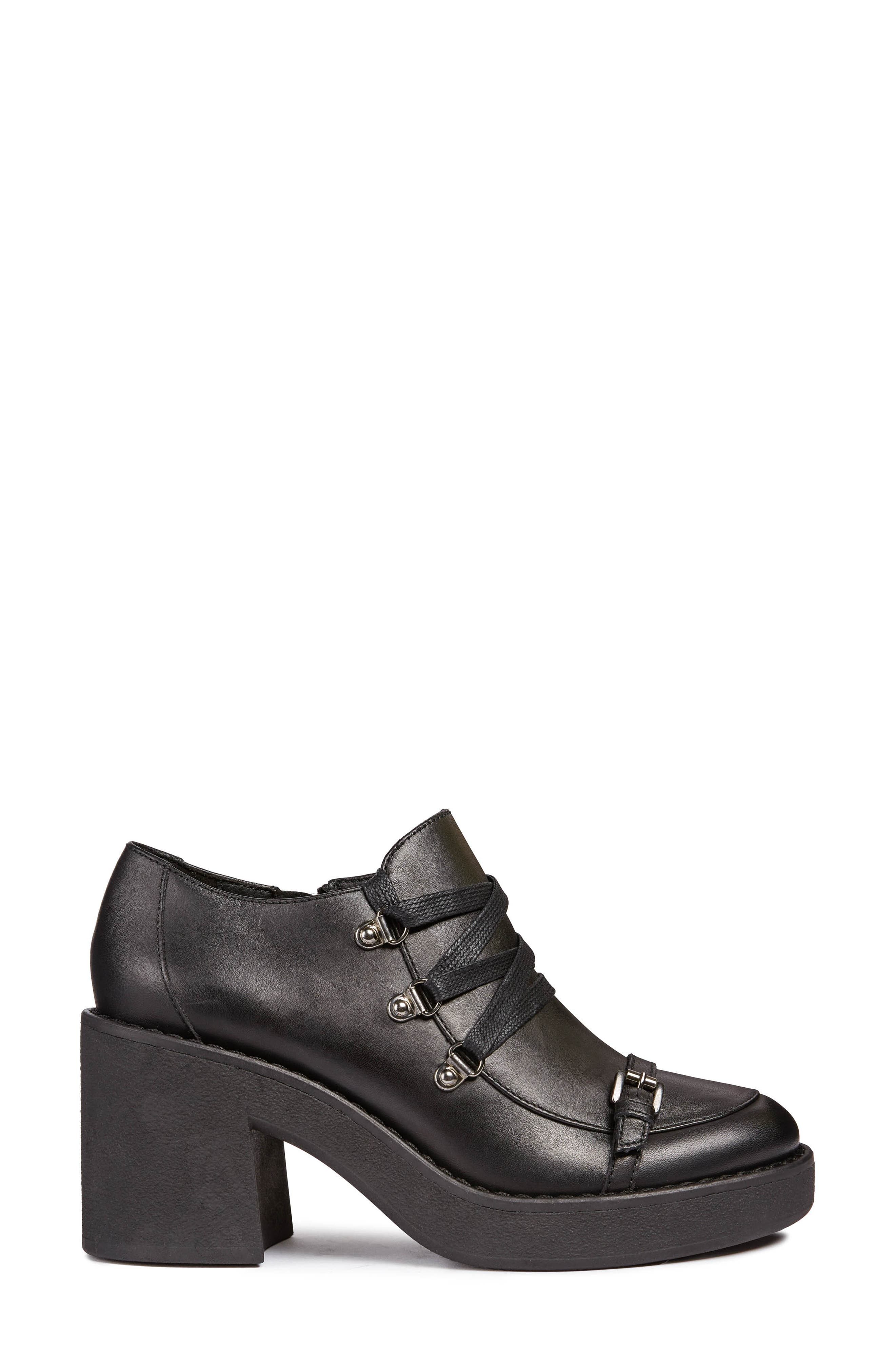 Adrya Bootie,                             Alternate thumbnail 3, color,                             BLACK LEATHER