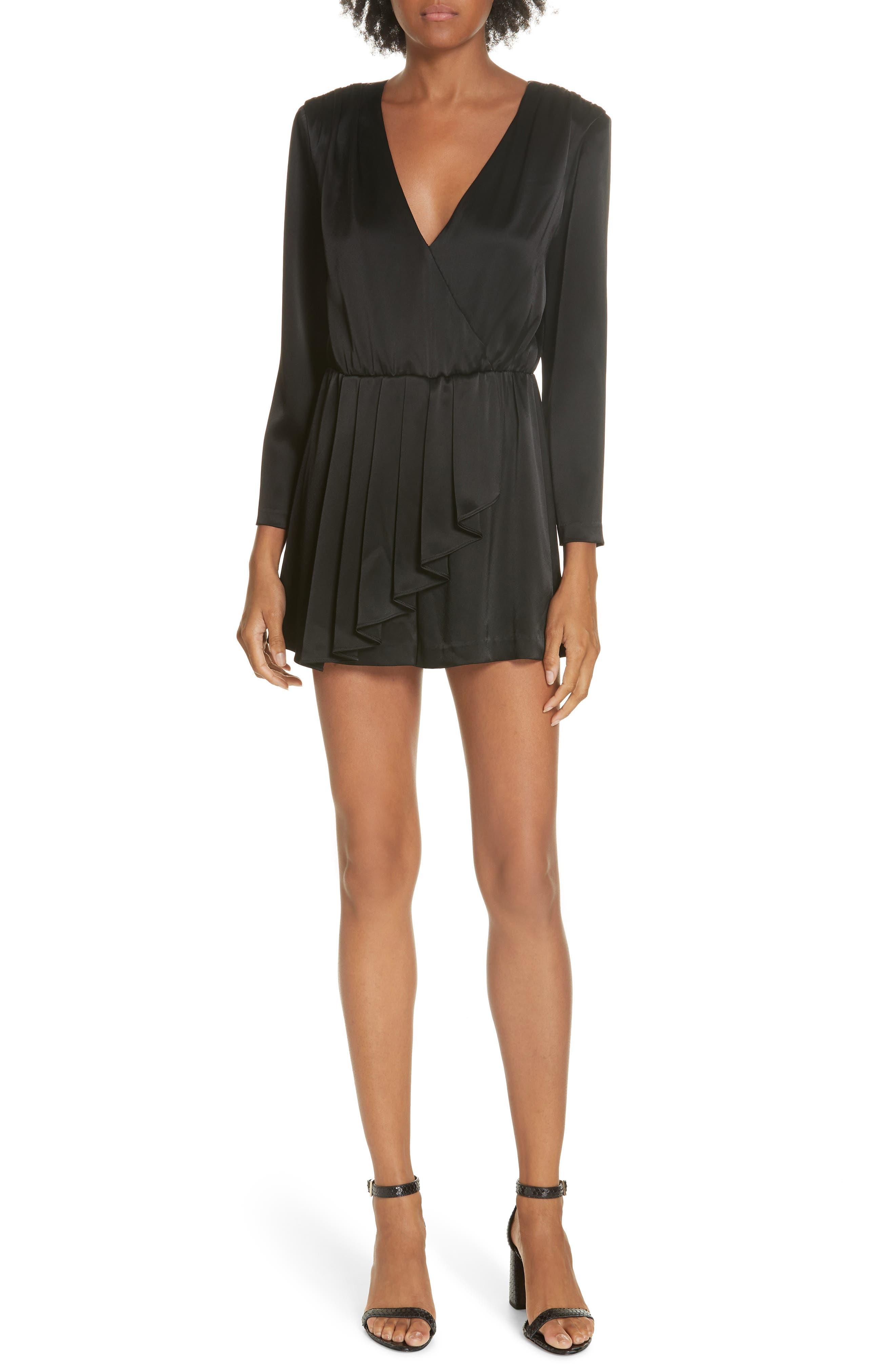 Faux Wrap Minidress, Main, color, BLACK