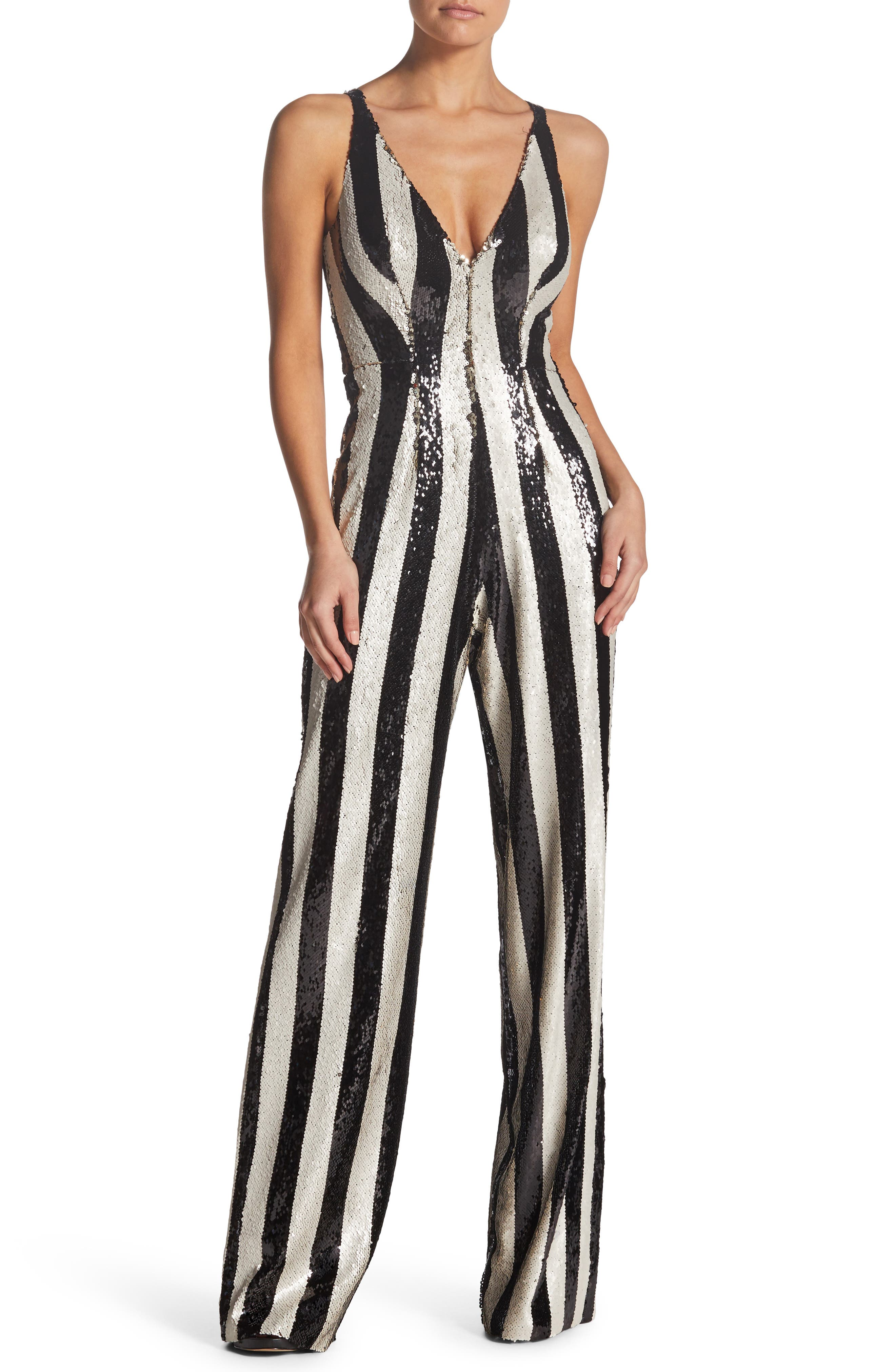 Bobbie Sequin Jumpsuit,                         Main,                         color, BLACK/ BONE