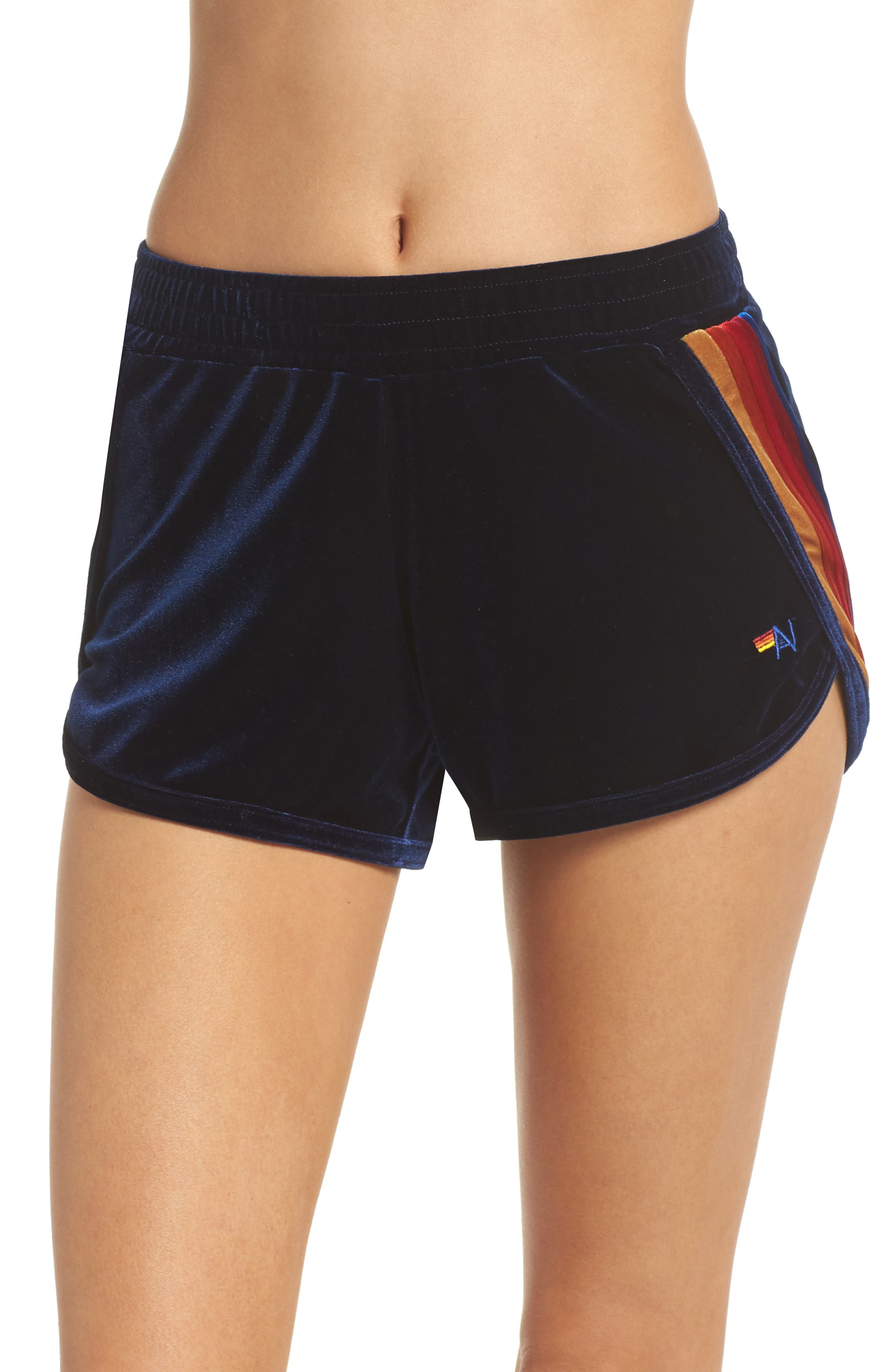 5-Stripe Velvet Running Shorts,                             Main thumbnail 1, color,                             400