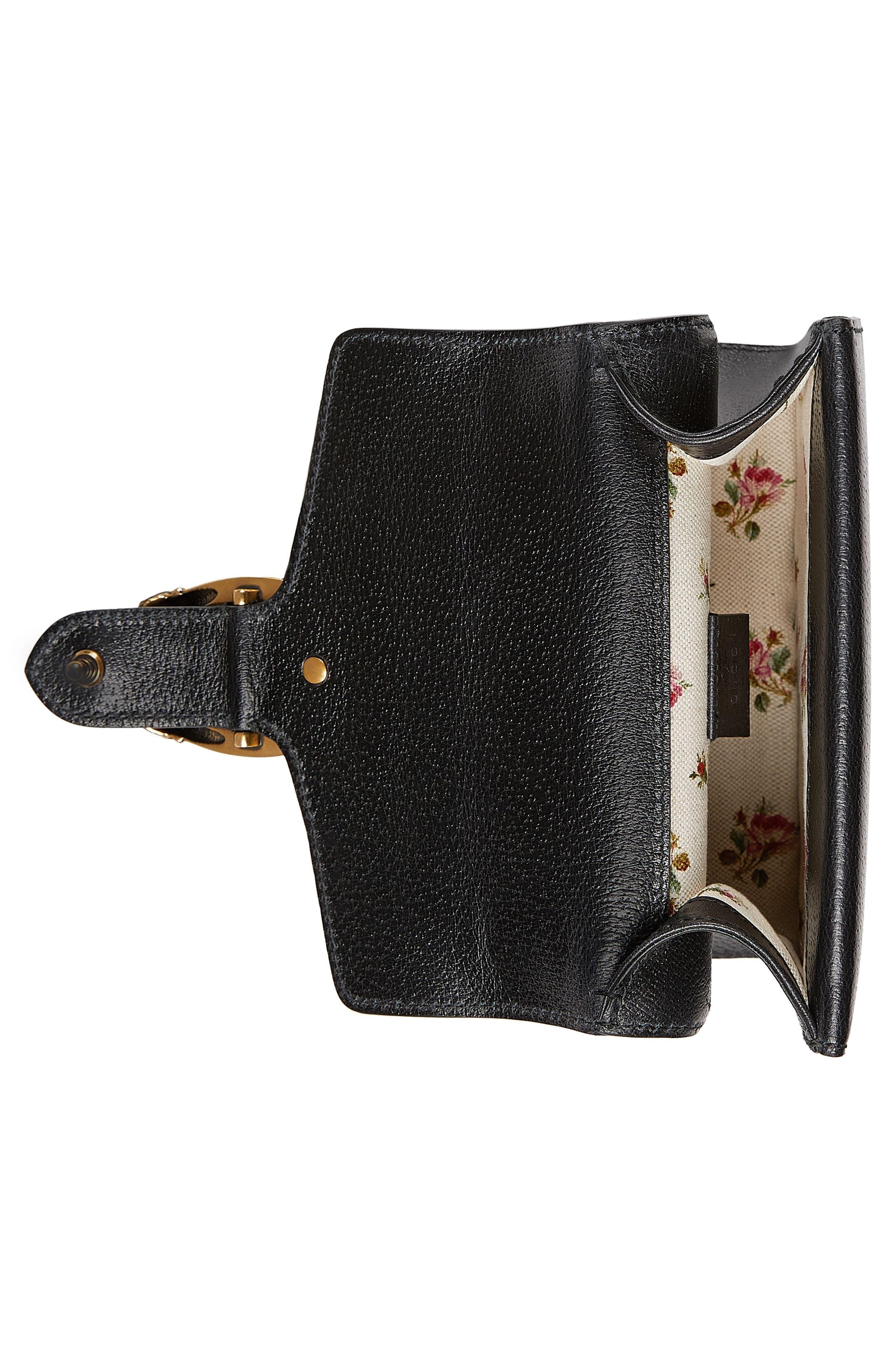 Small Dionysus House Web Leather Shoulder Bag,                             Alternate thumbnail 3, color,                             001