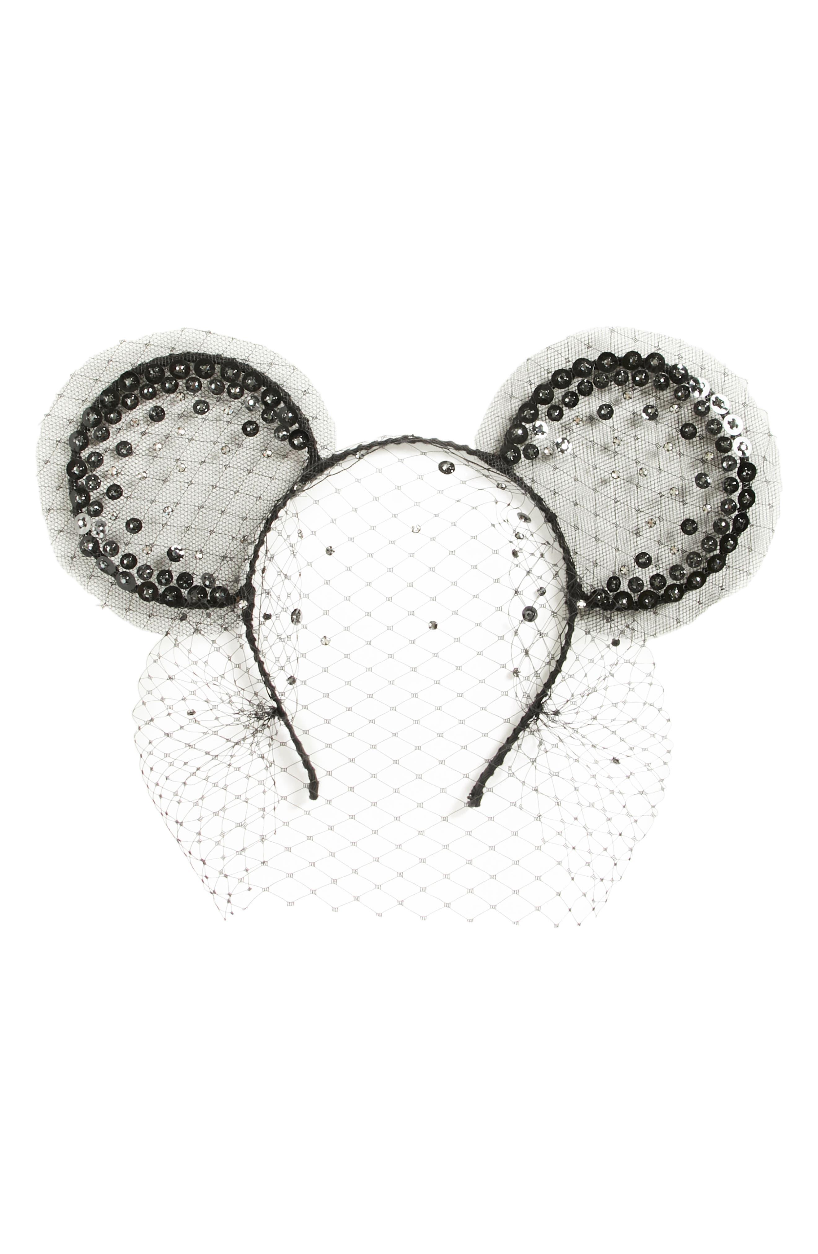 x Disney Mickey Magic Moment Midnight Veil  Headband,                             Main thumbnail 1, color,                             BLACK