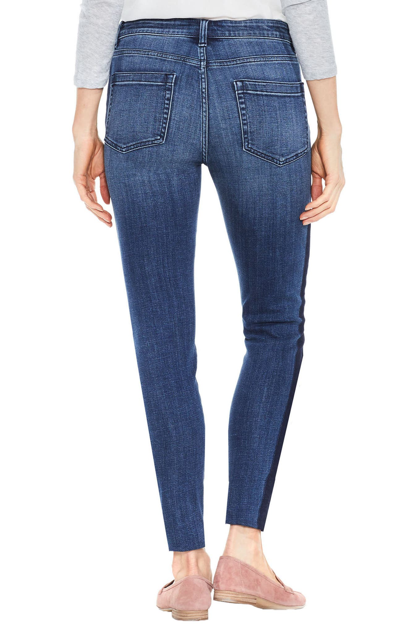 Two by Vince Camuto Two-Tone Skinny Jeans,                             Alternate thumbnail 2, color,                             INDIGO SHADOW