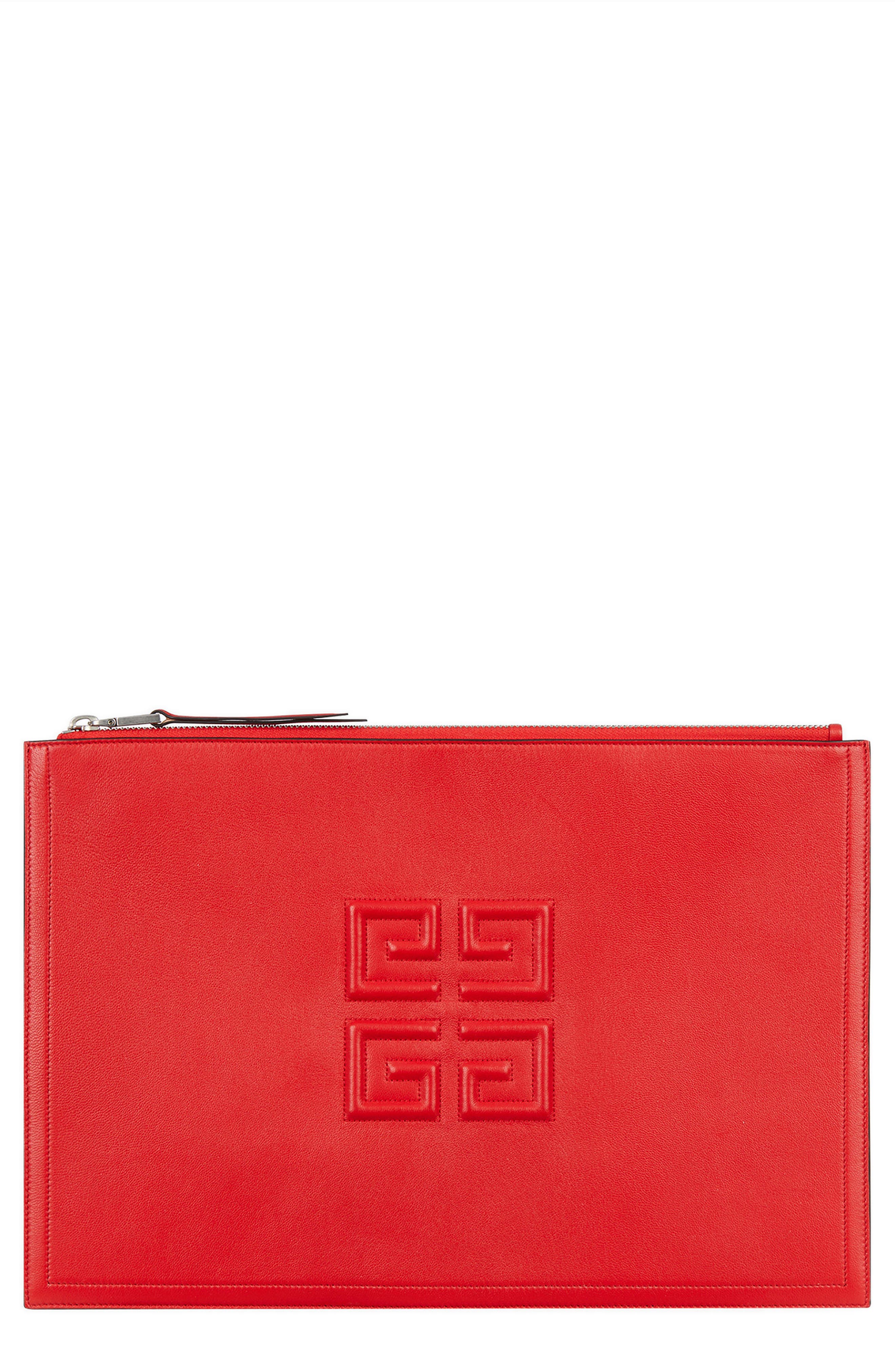 GIVENCHY Embossed Logo Lambskin Leather Pouch, Main, color, POPPY RED