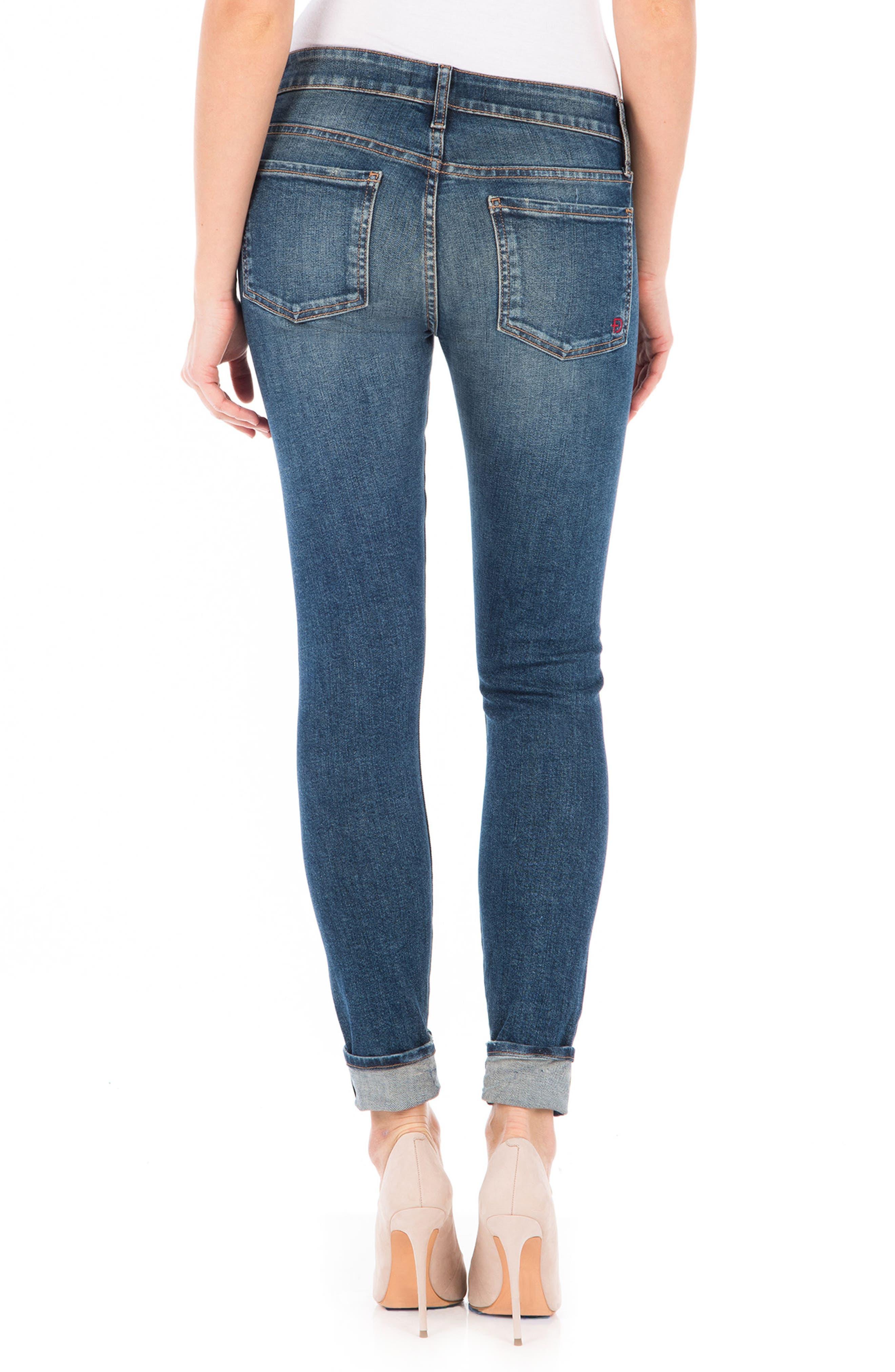 Mila Selvedge Ankle Skinny Jeans,                             Alternate thumbnail 2, color,                             400