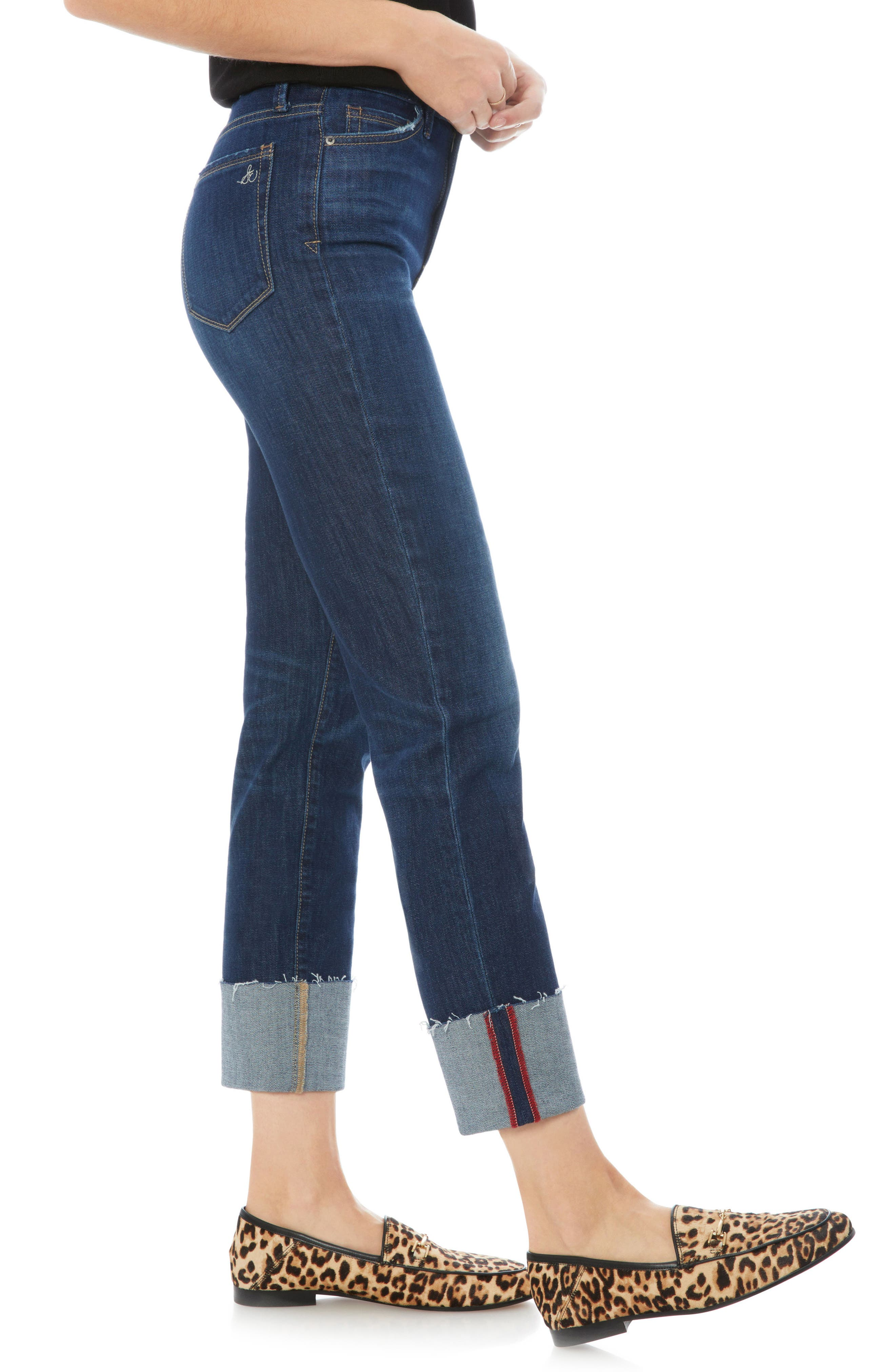 The Mary Jane Oversize Cuff Jeans,                             Alternate thumbnail 3, color,                             400