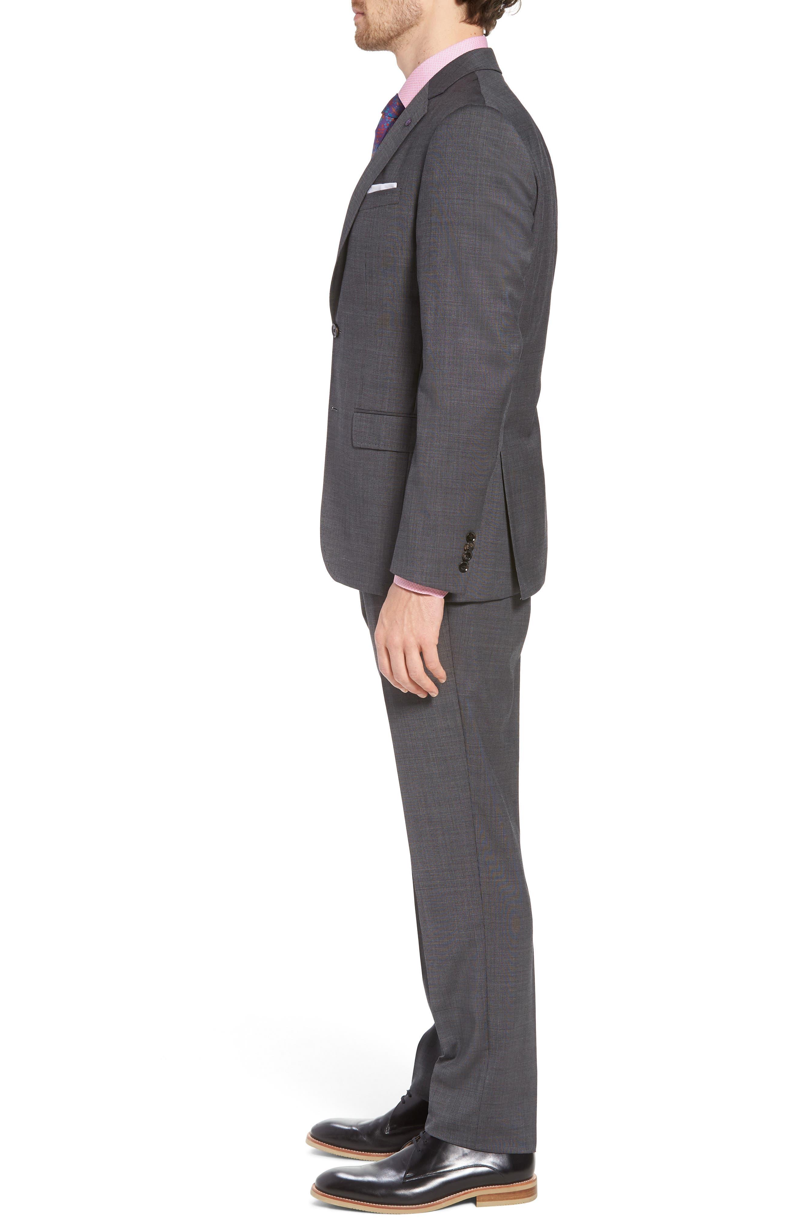 Jay Trim Fit Solid Wool Suit,                             Alternate thumbnail 3, color,                             020