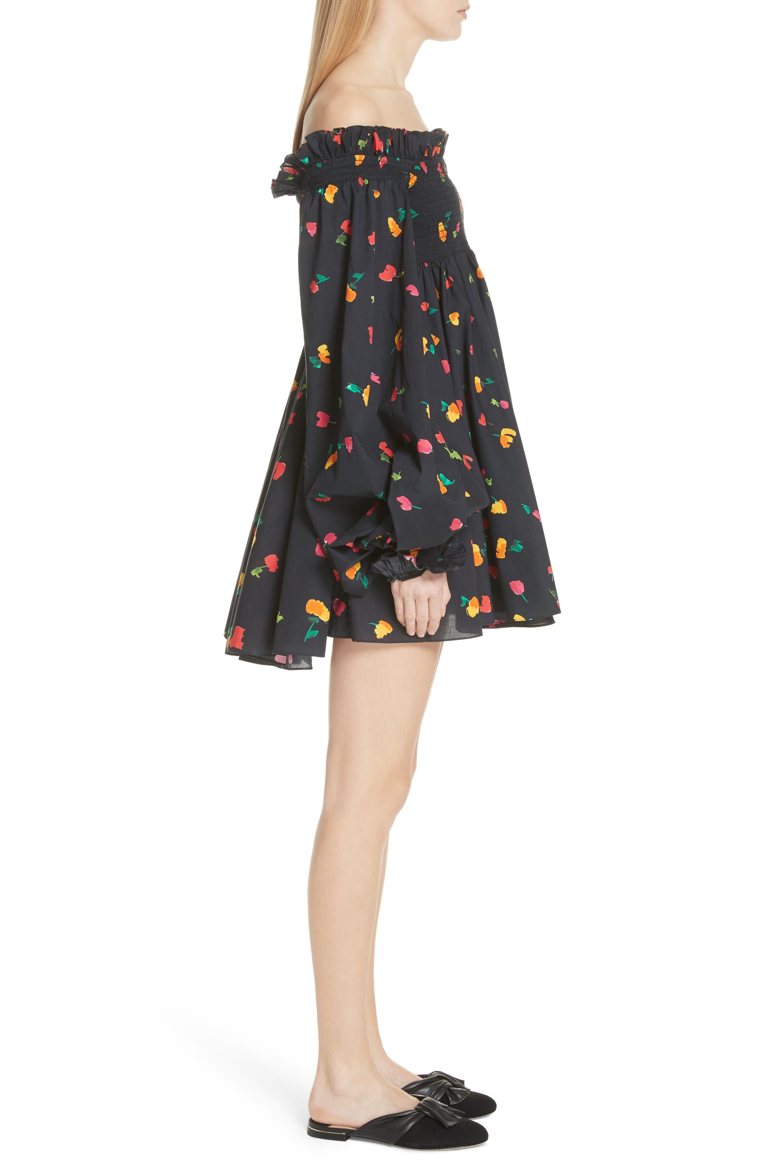 Kora Off the Shoulder Dress,                             Alternate thumbnail 3, color,                             BLACK