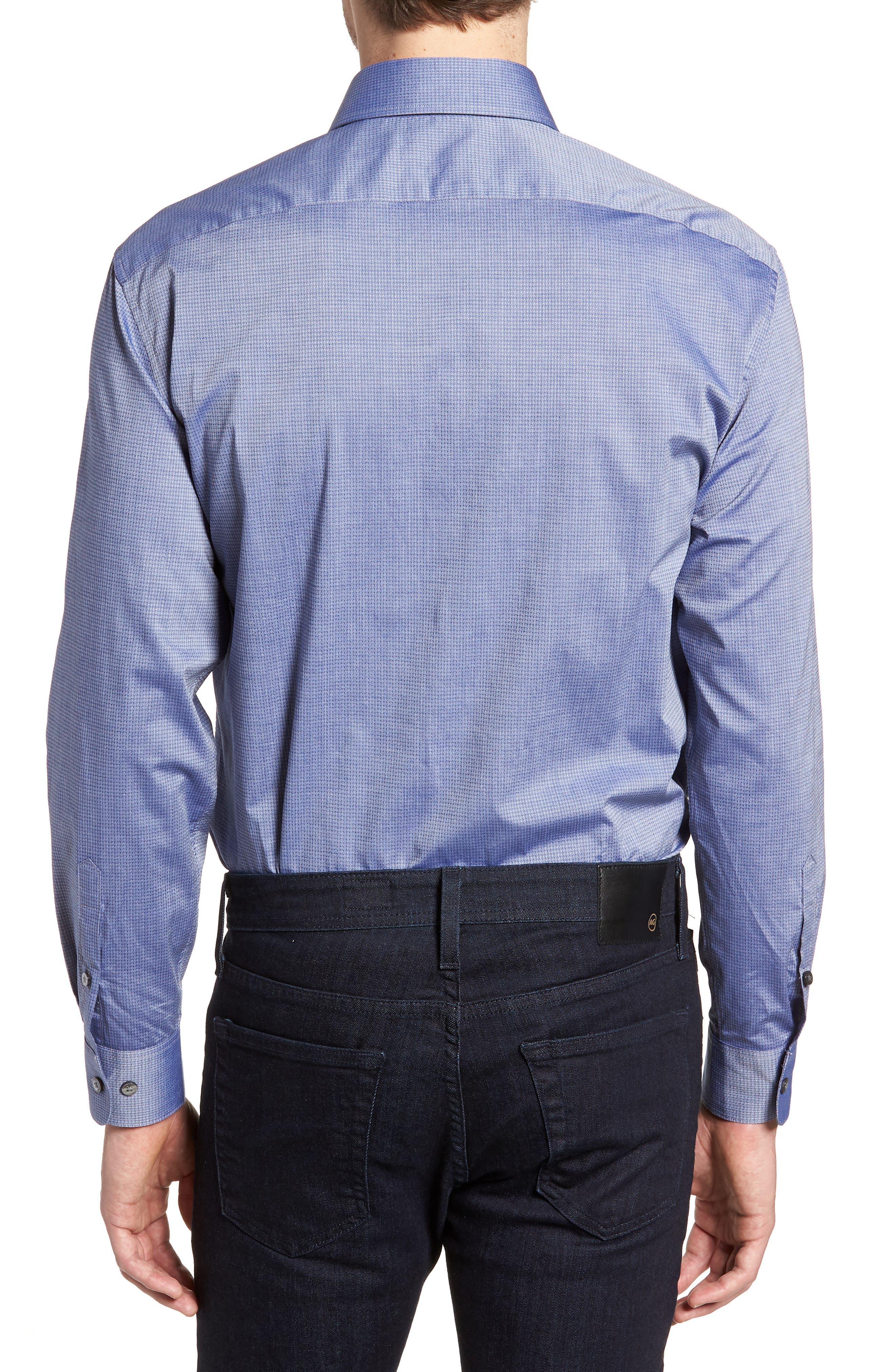 Regular Fit Stretch Print Dress Shirt,                             Alternate thumbnail 3, color,                             DEEP BLUE