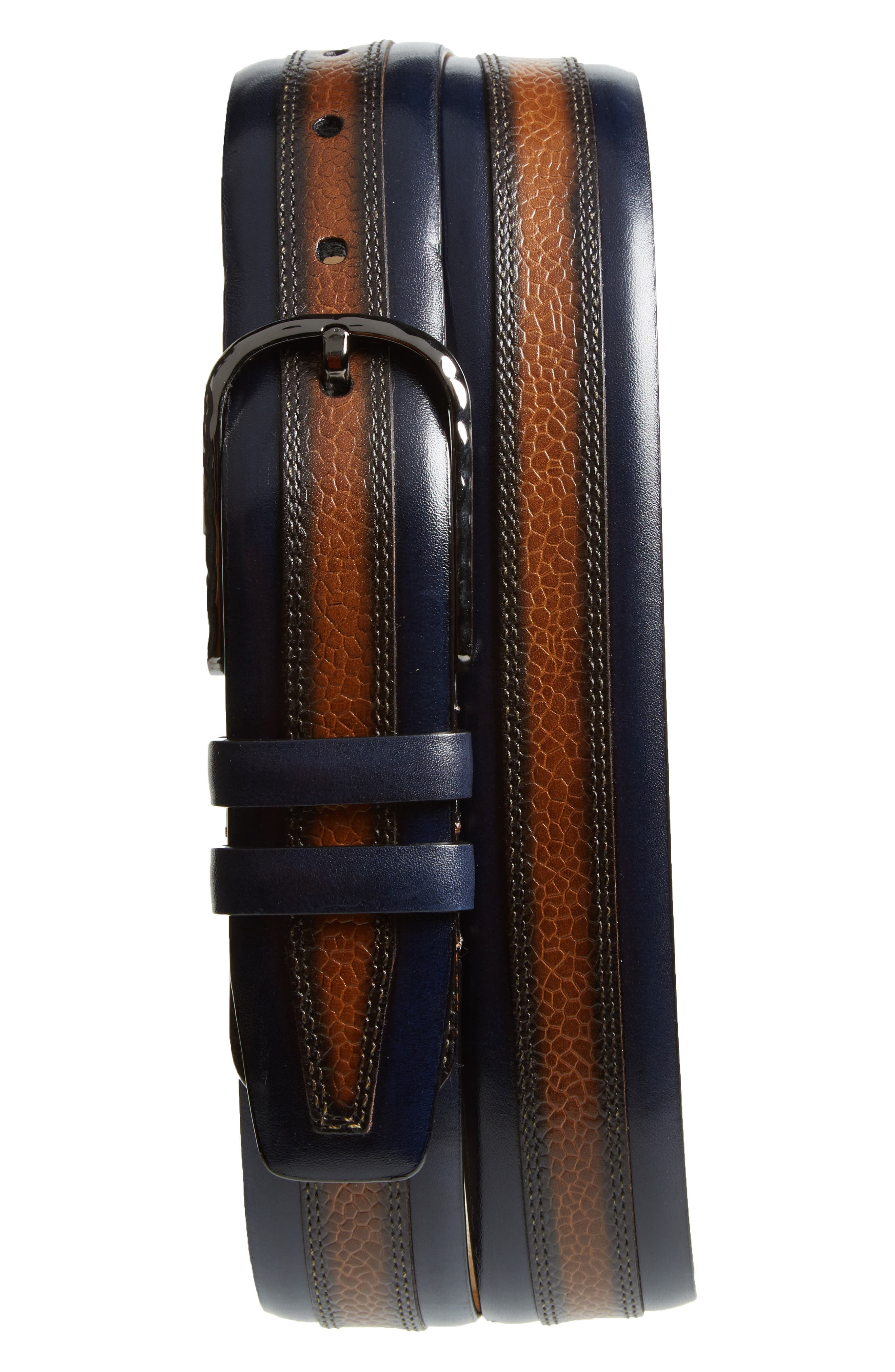 Mezlan Palma Leather Belt, Blue/ Tan