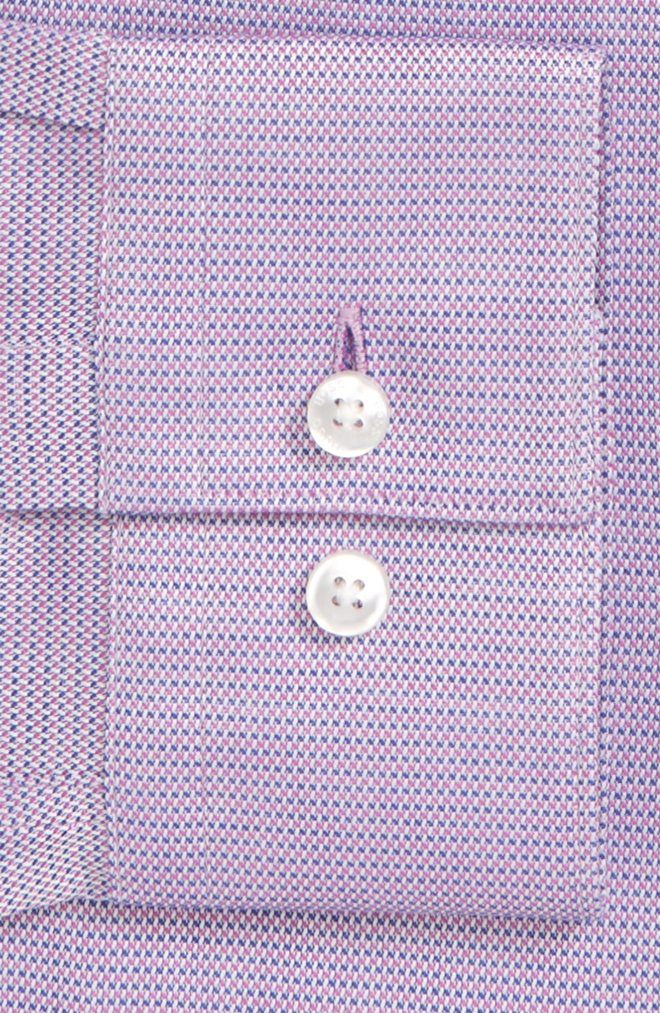 Slim Fit Isko Micro Pattern Dress Shirt,                             Alternate thumbnail 6, color,                             RED
