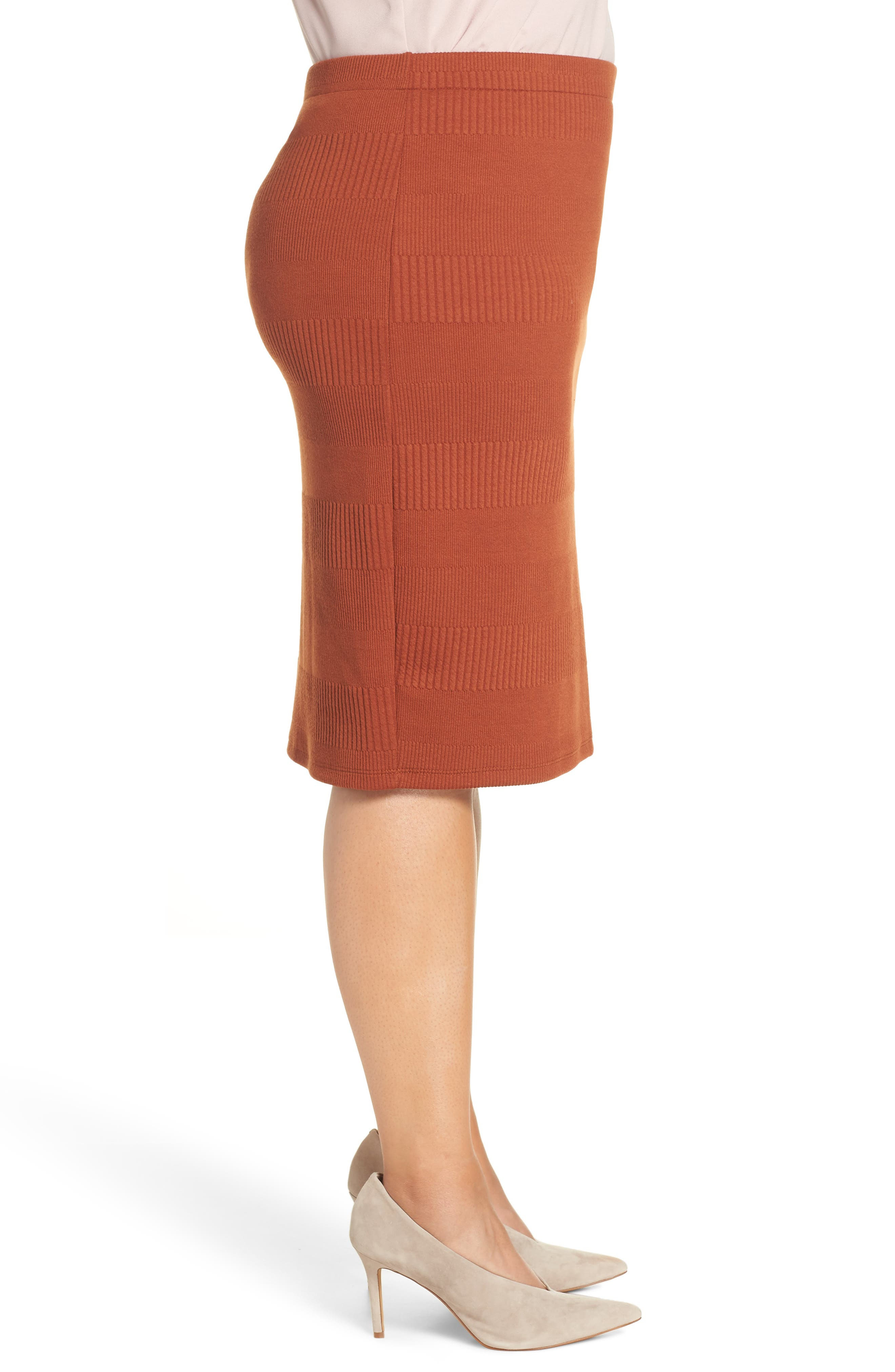 Midi Pencil Skirt,                             Alternate thumbnail 3, color,                             BROWN SPICE