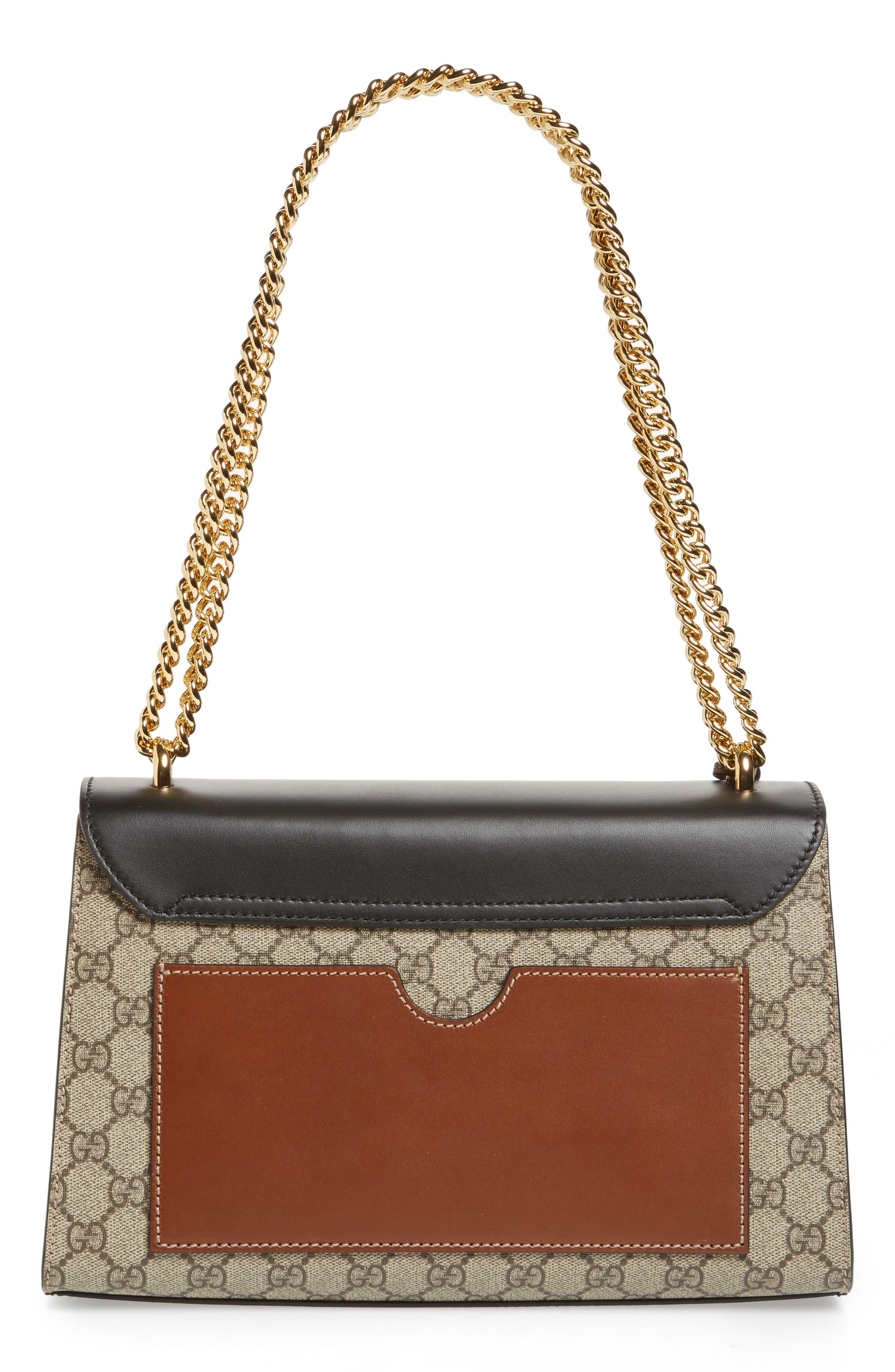 Medium Padlock Leather Shoulder Bag,                             Alternate thumbnail 3, color,                             MOON/ TOSCANO