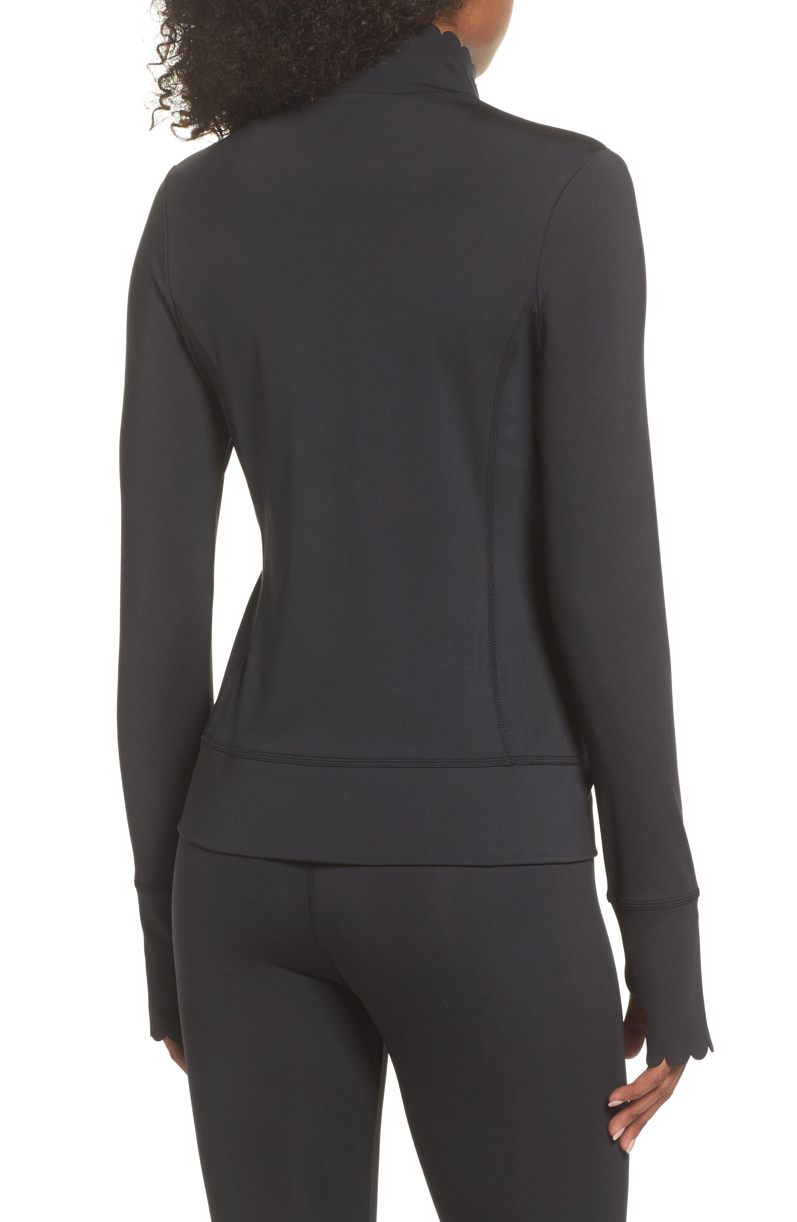scallop jacket,                             Alternate thumbnail 2, color,                             BLACK