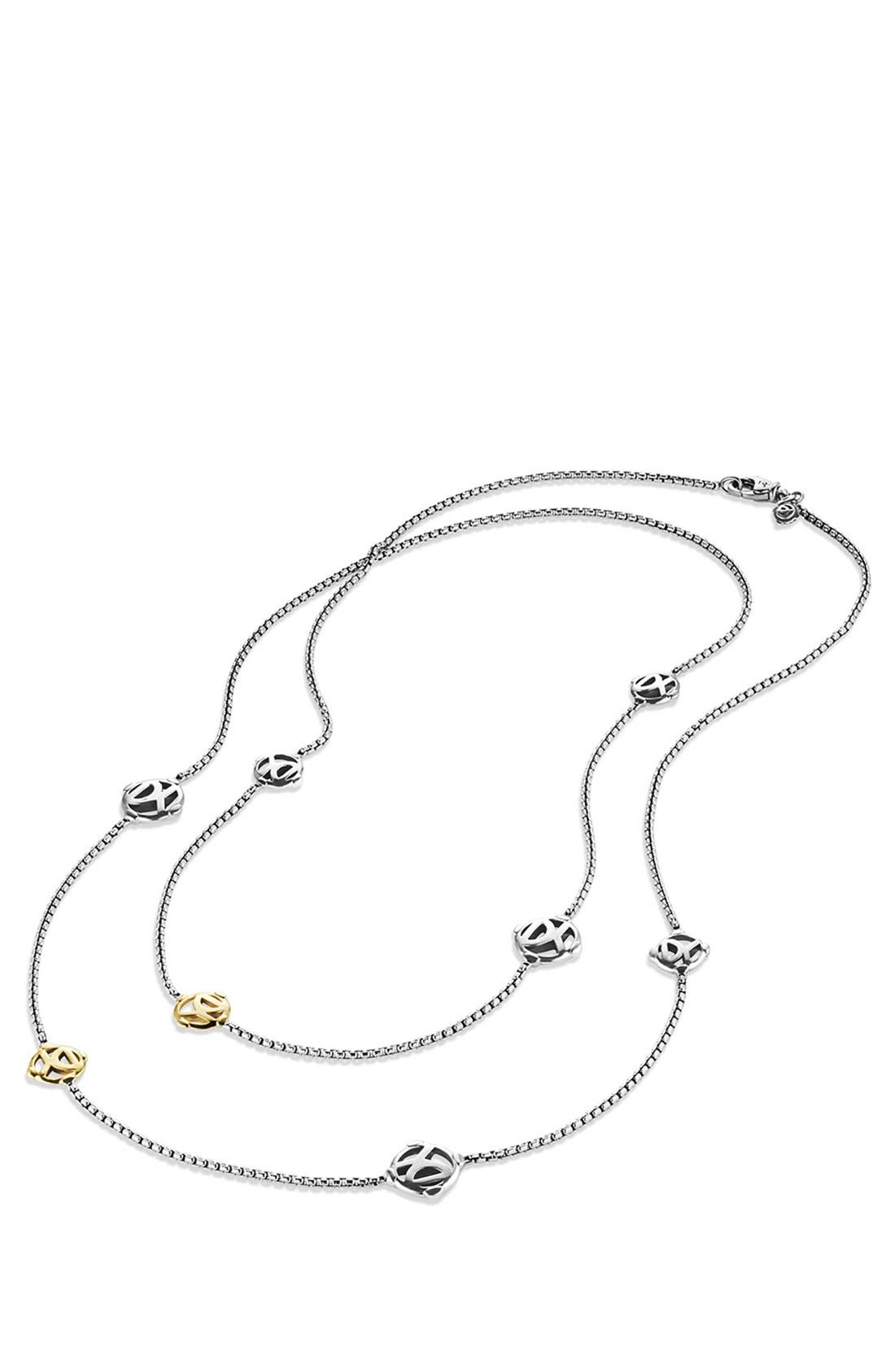 'Chain' DY Logo Chain Necklace with Gold,                             Alternate thumbnail 3, color,                             040