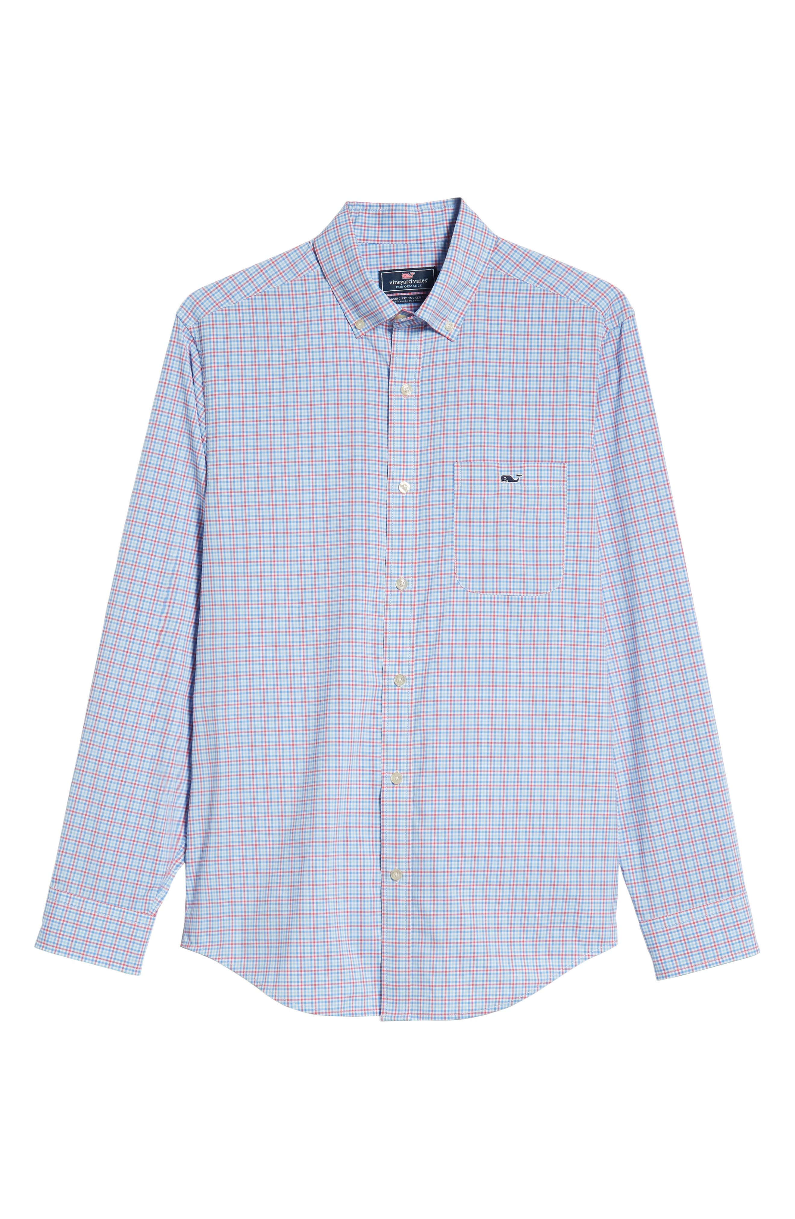 Boldwater Regular Fit Plaid Sport Shirt,                             Alternate thumbnail 5, color,                             SAILORS RED