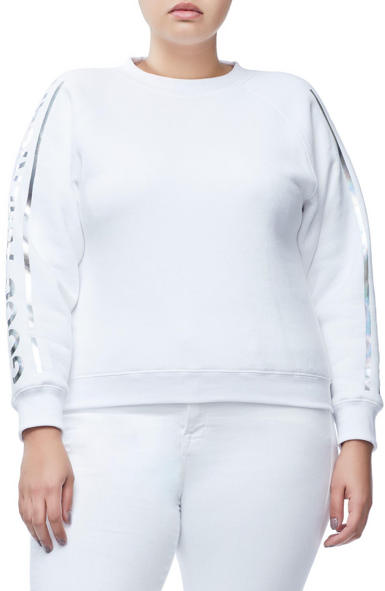 Crewneck Sweatshirt,                             Alternate thumbnail 3, color,                             WHITE
