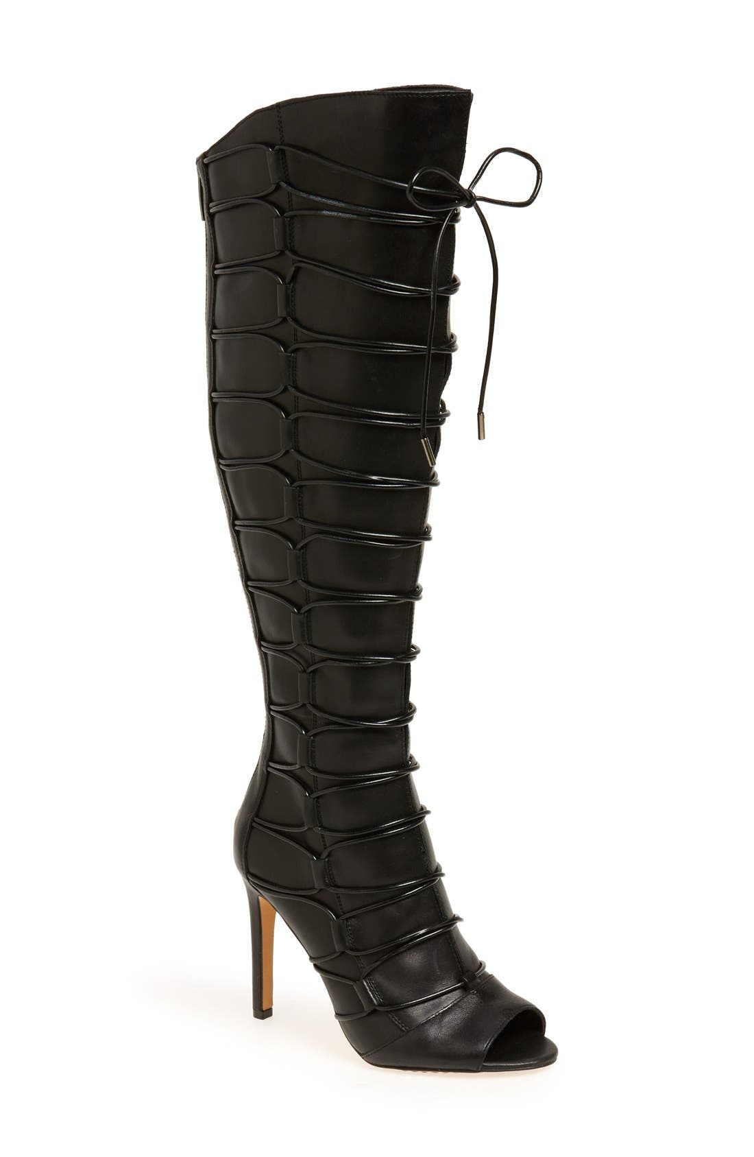 'Kesta' Strappy Knee High Boot, Main, color, 001