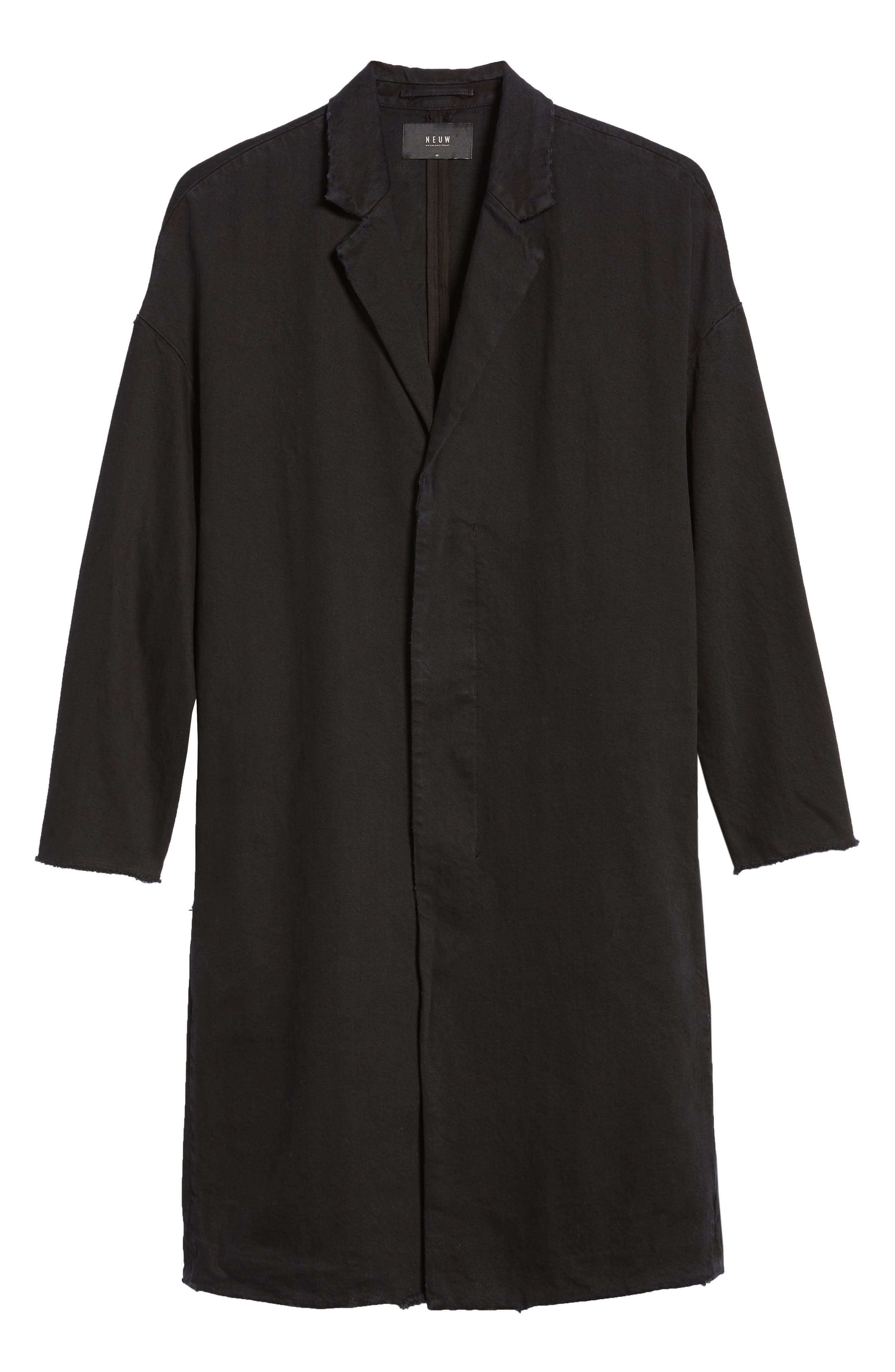 Relaxed Fit Long Denim Coat,                             Alternate thumbnail 6, color,                             BLACK INDIGO