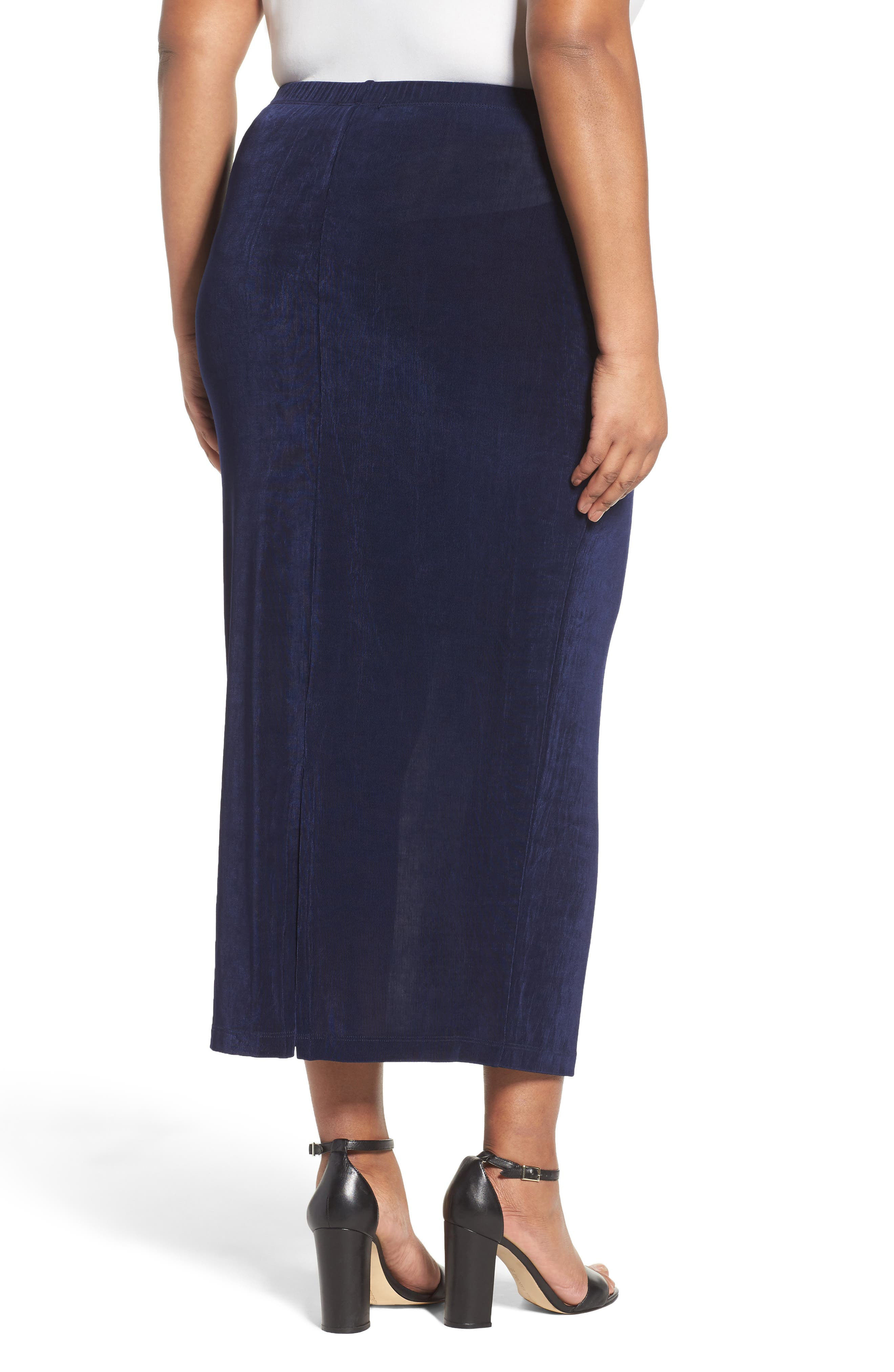 Stretch Knit Straight Maxi Skirt,                             Alternate thumbnail 2, color,                             NAVY