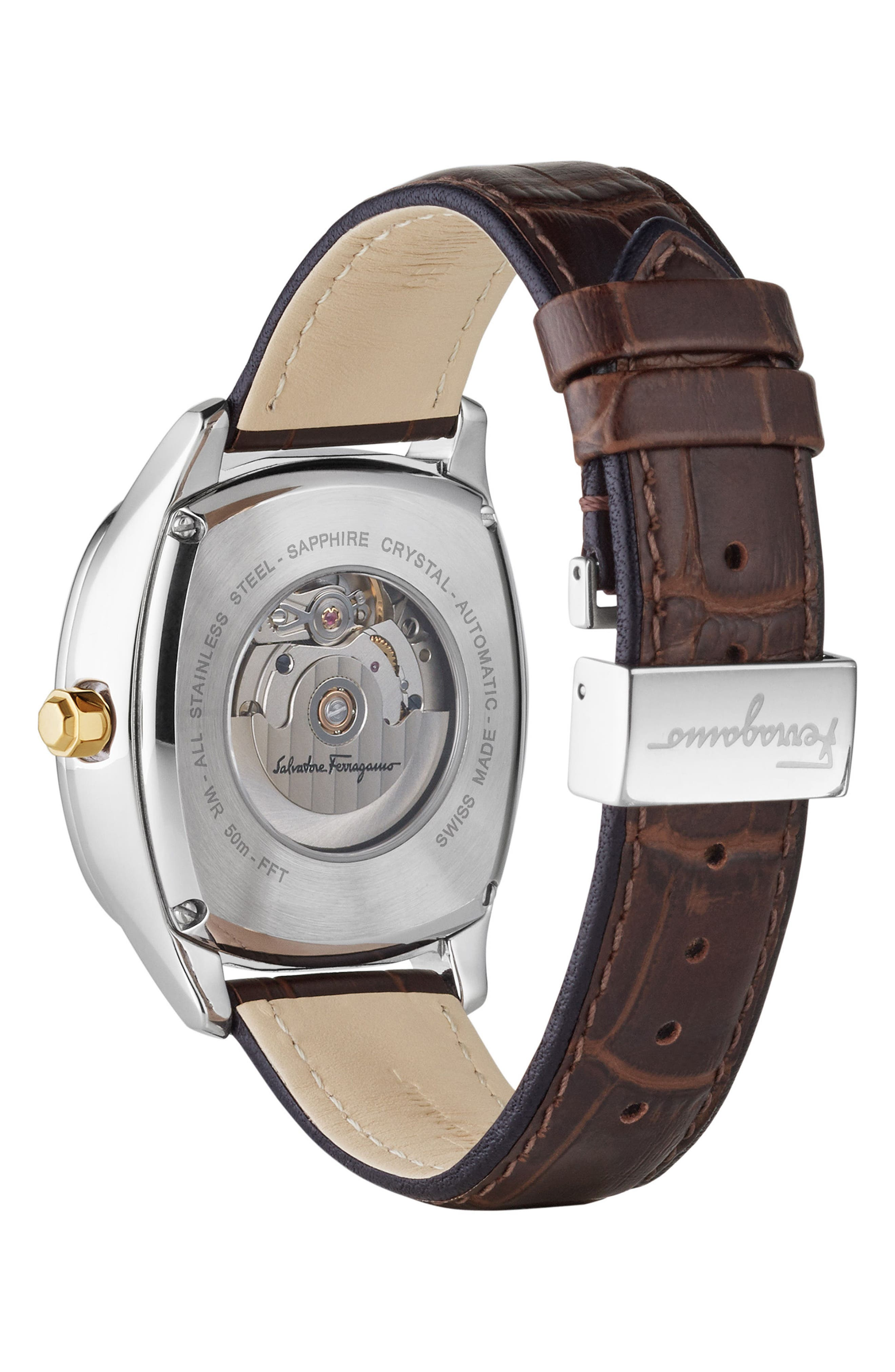 Square Automatic Leather Strap Watch, 41mm,                             Alternate thumbnail 2, color,                             BROWN/ CHAMPAGNE/ SILVER