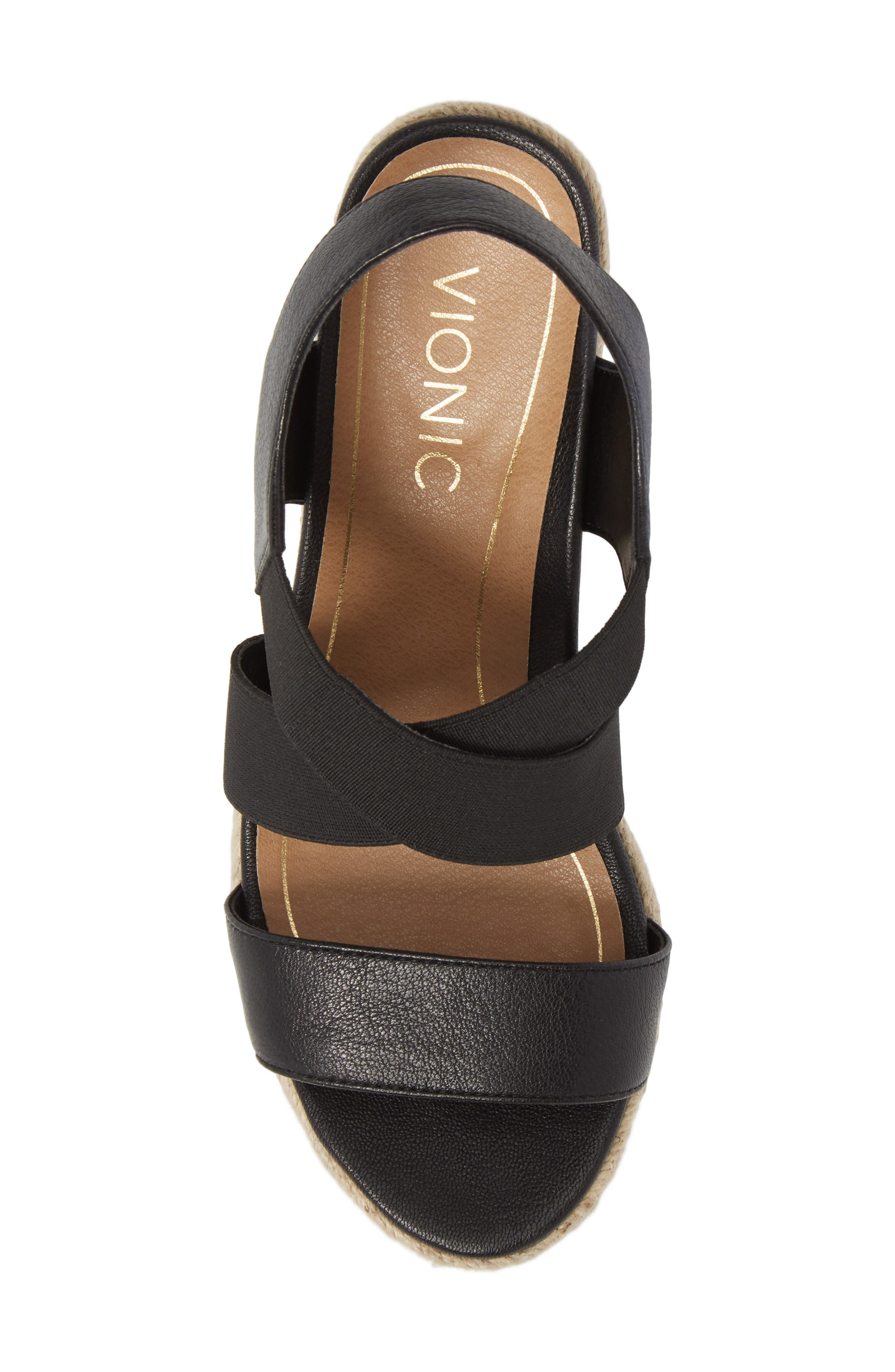 Ainsleigh Wedge Sandal,                             Alternate thumbnail 5, color,                             BLACK LEATHER