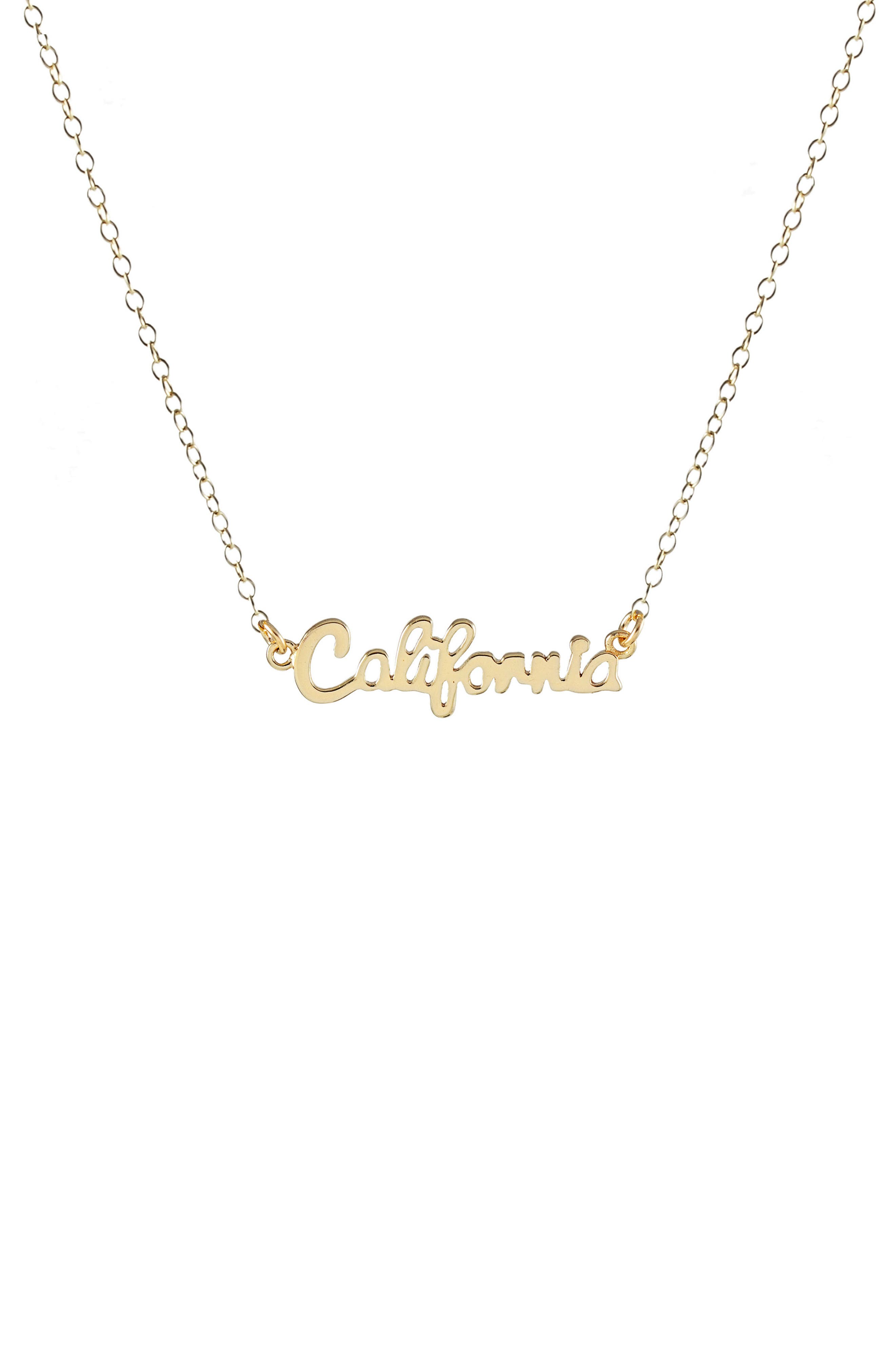State Script Charm Necklace,                             Main thumbnail 1, color,                             CALIFORNIA - GOLD