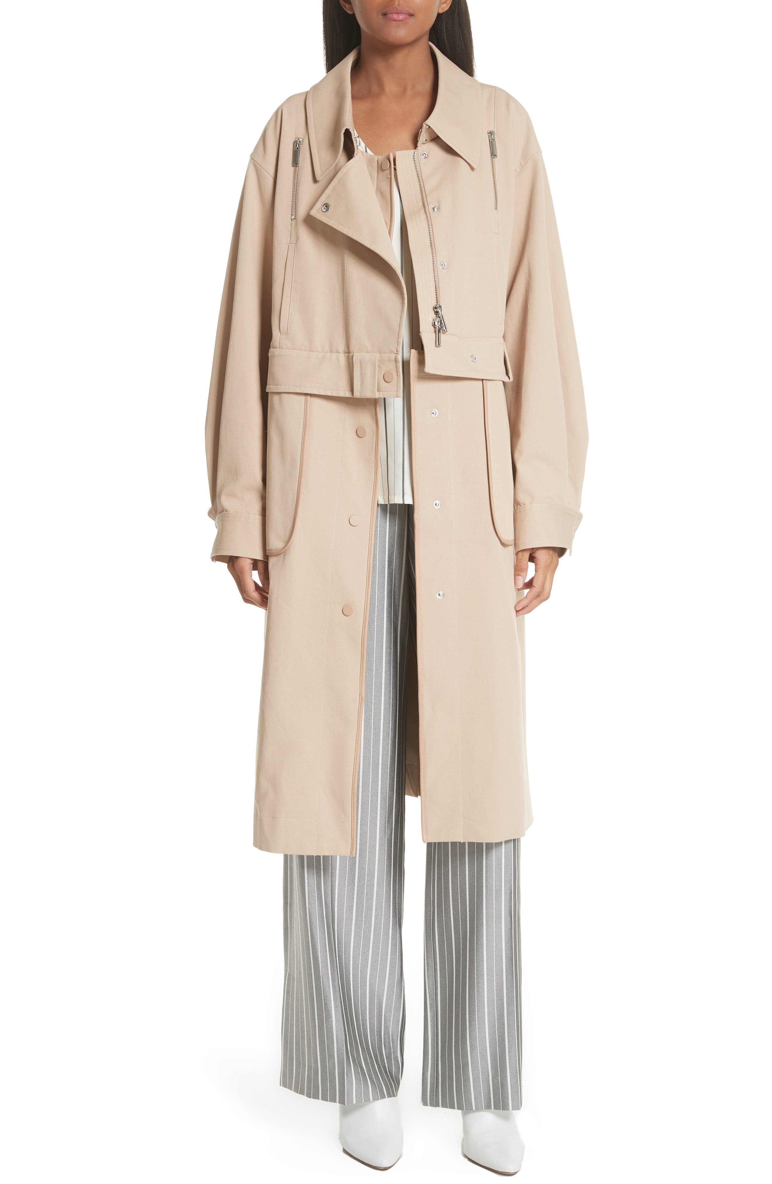 Sailor Stretch Twill Convertible Trench Coat,                             Alternate thumbnail 8, color,                             FAWN