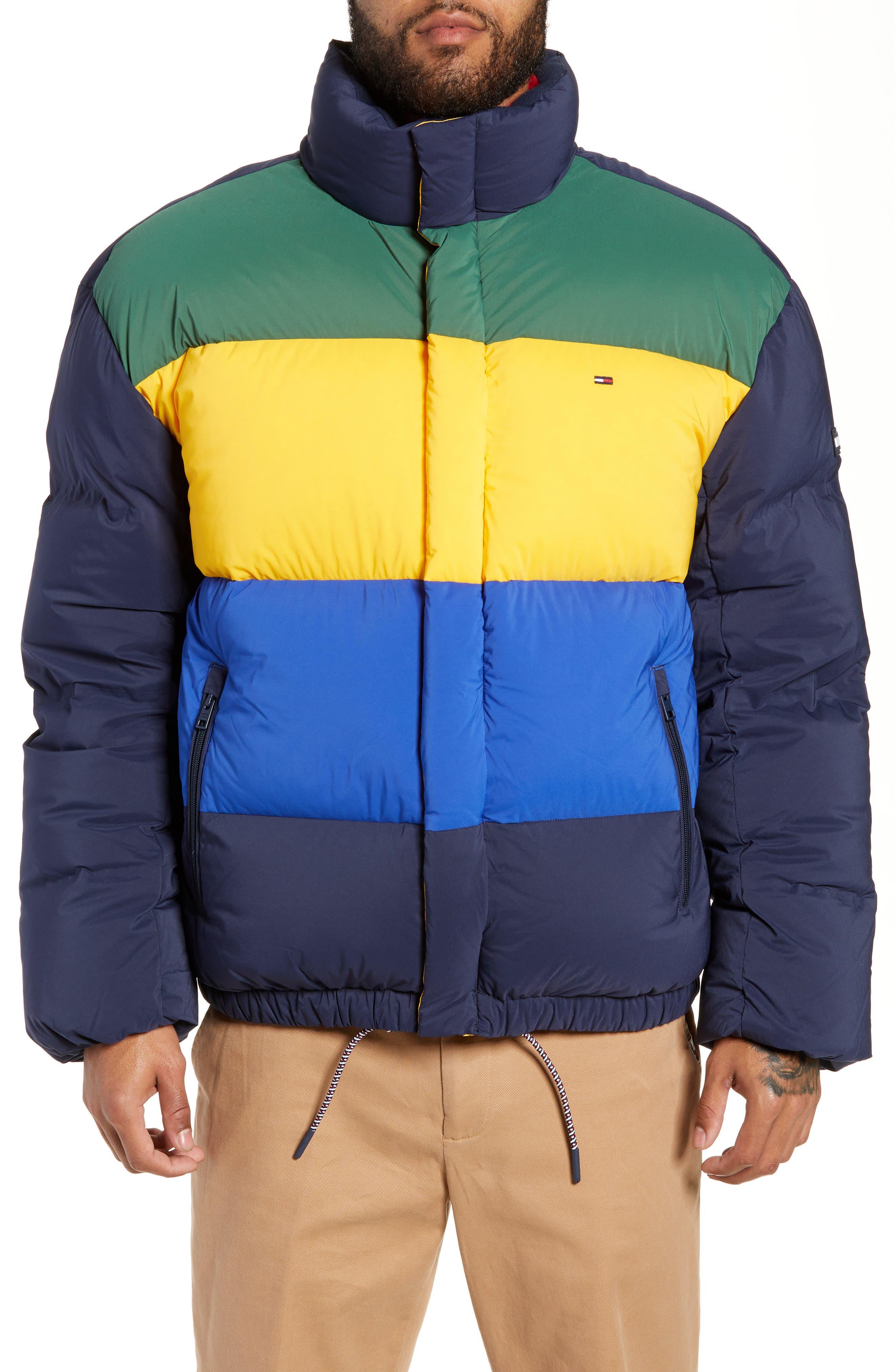Colorblock Down Jacket,                             Alternate thumbnail 4, color,                             BLACK IRIS / MULTI