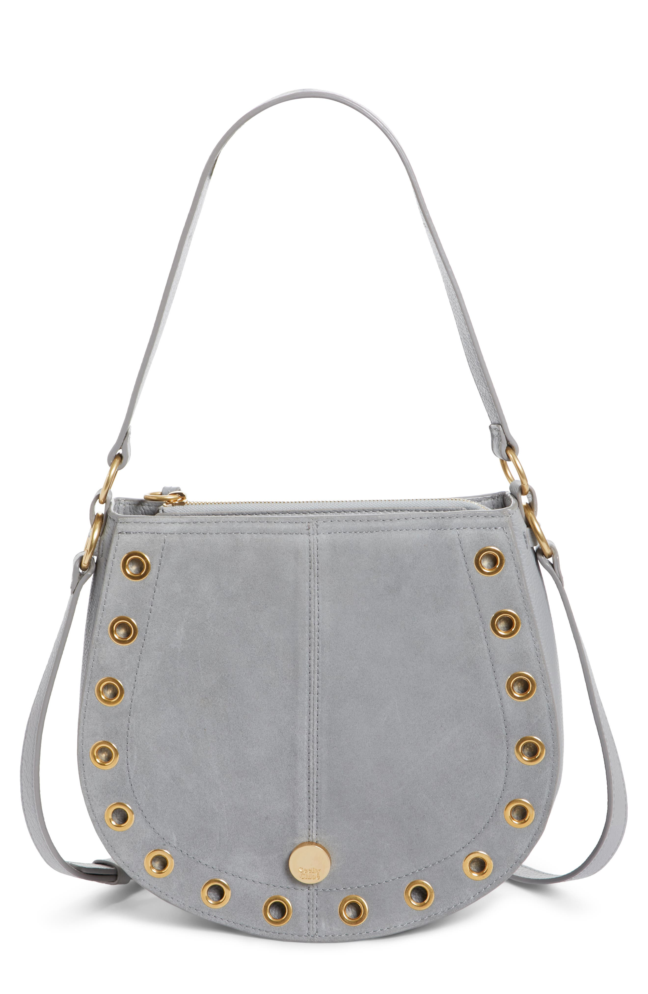 Kriss Leather & Suede Grommet Shoulder Bag,                         Main,                         color, 400