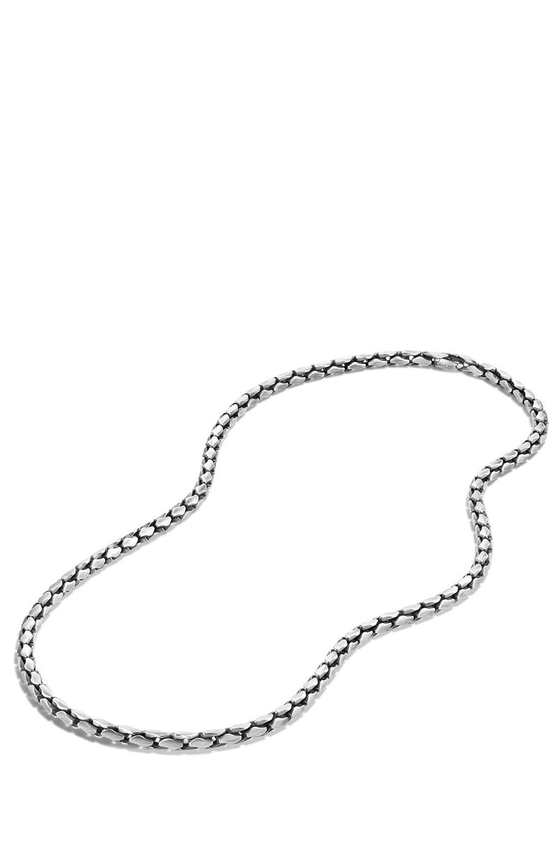 'Chain' Small Fluted Chain Necklace, 5mm,                             Alternate thumbnail 3, color,                             SILVER