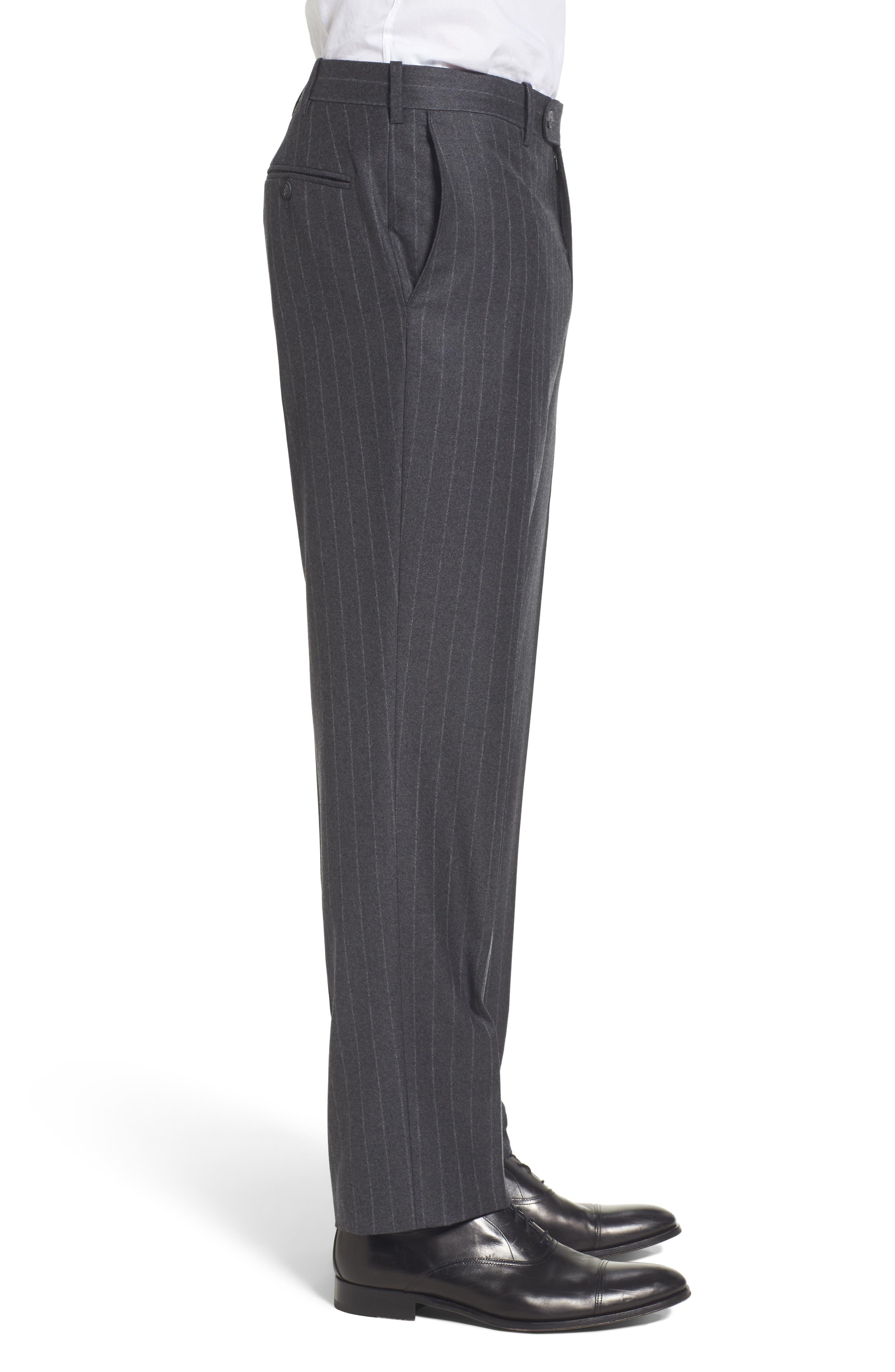 Flat Front Chalk Stripe Wool Trousers,                             Alternate thumbnail 3, color,                             030