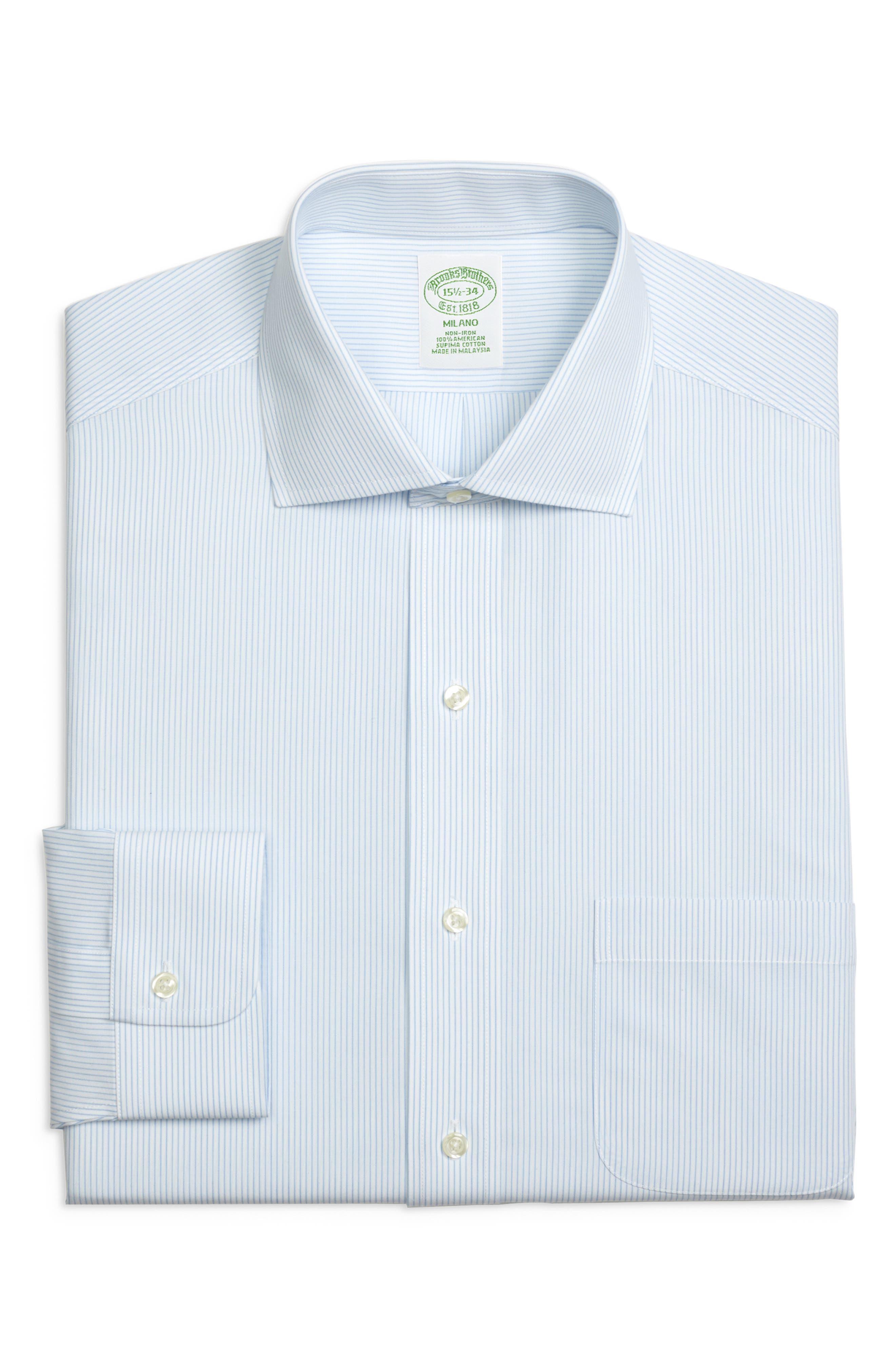 Trim Fit Stripe Dress Shirt,                         Main,                         color, LIGHT/ PASTEL BLUE