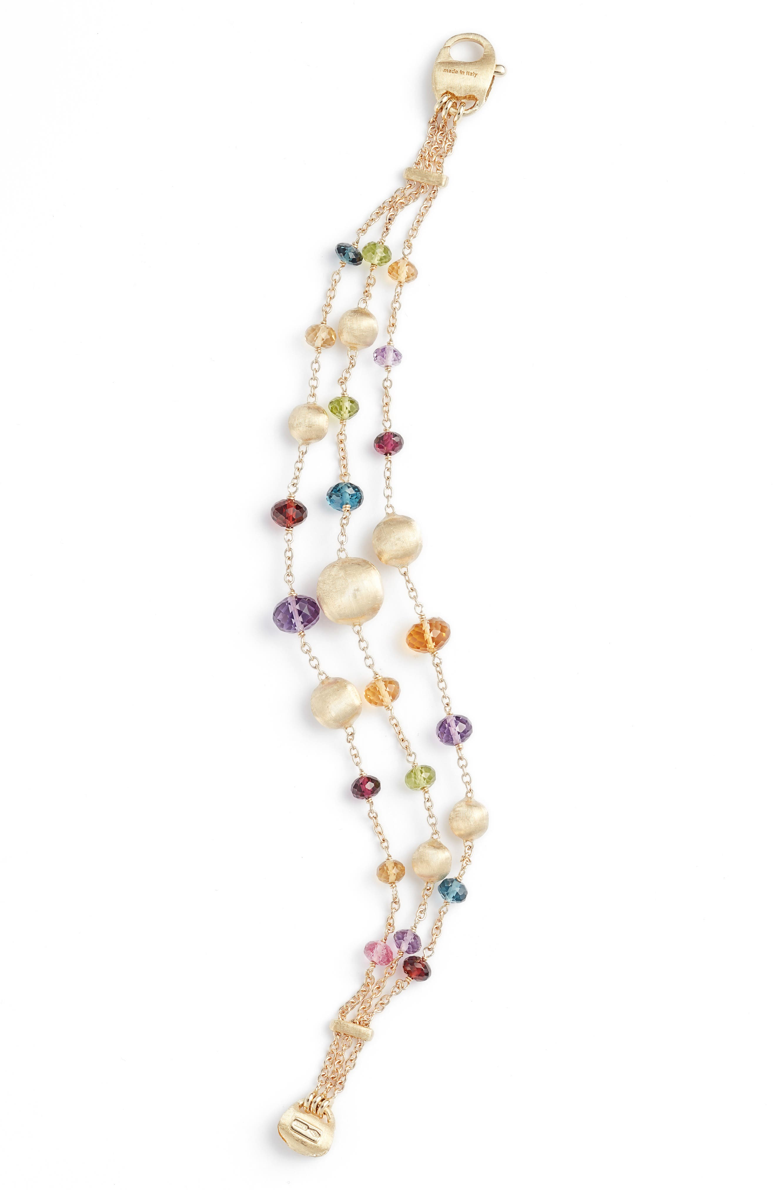 MARCO BICEGO 18K Yellow Gold Africa Color Multi Gemstone Triple Strand Bracelet - 100% Exclusive