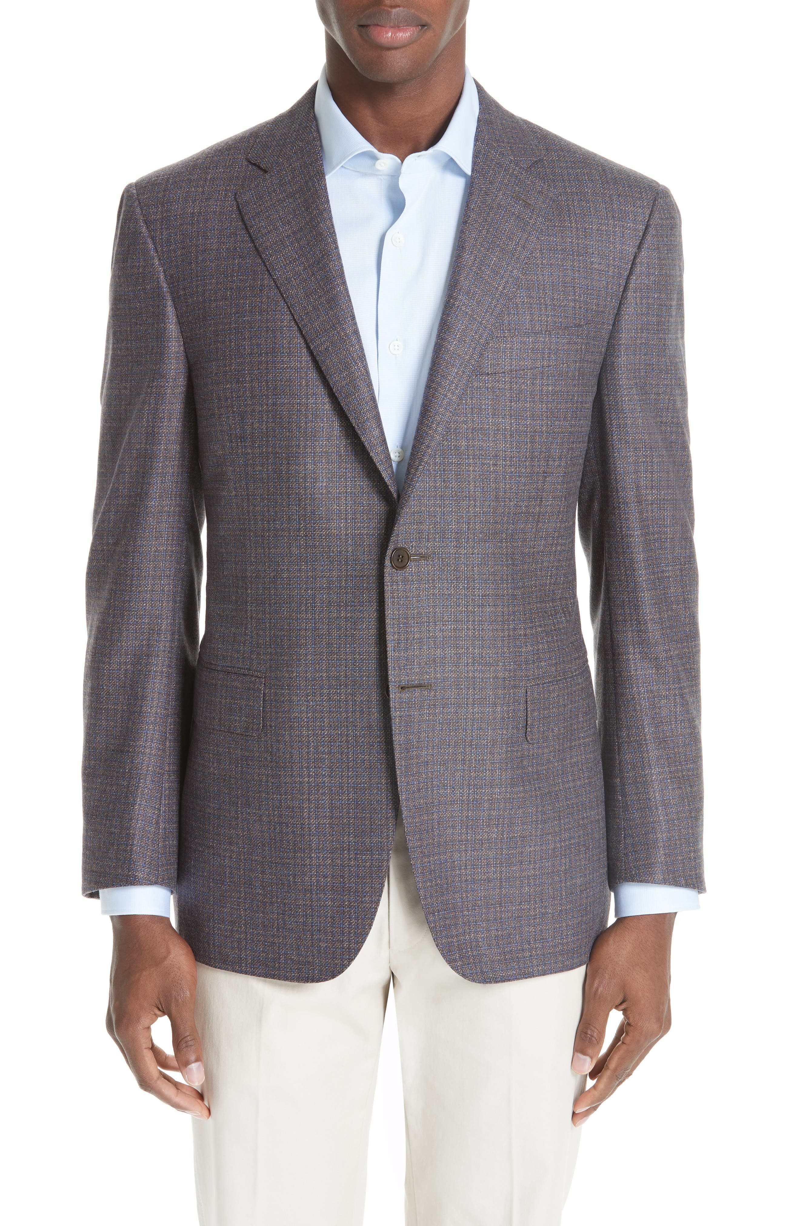 Classic Fit Check Wool & Cashmere Sport Coat,                             Main thumbnail 1, color,                             BROWN/ BLUE