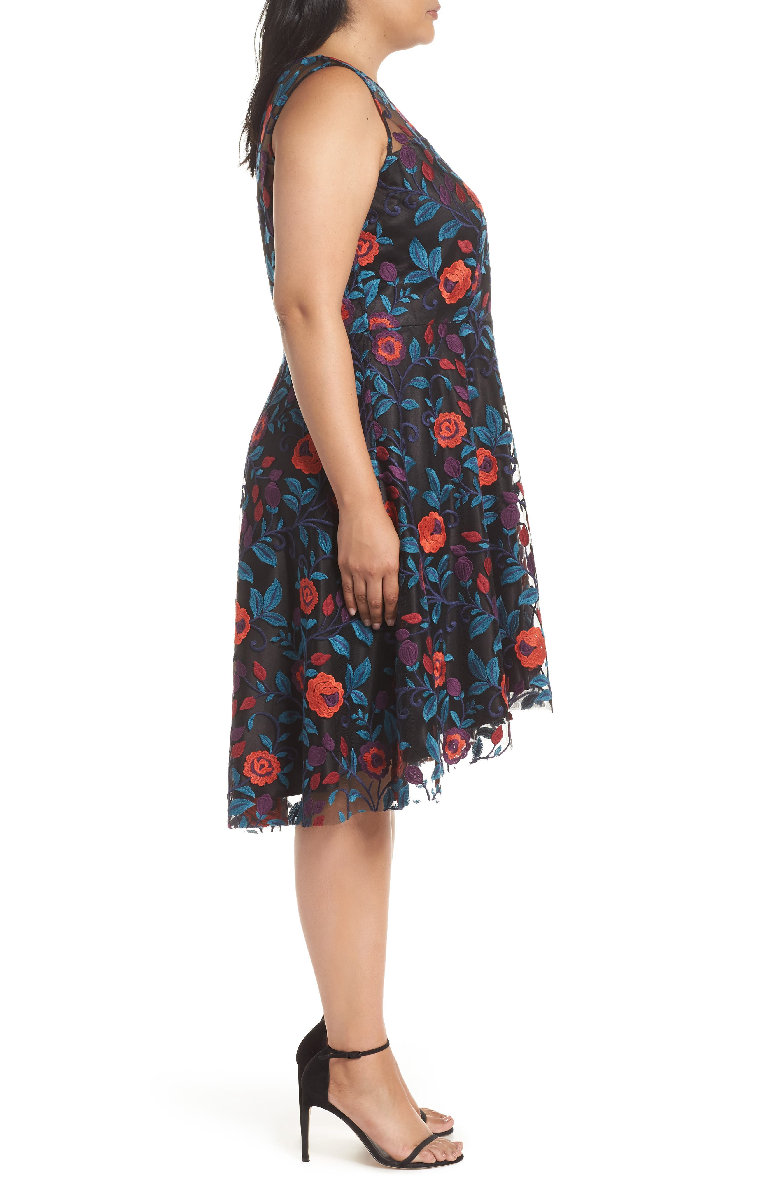 Floral Embroidery Fit and Flare Dress,                             Alternate thumbnail 3, color,                             BLACK/ TEAL/ RED