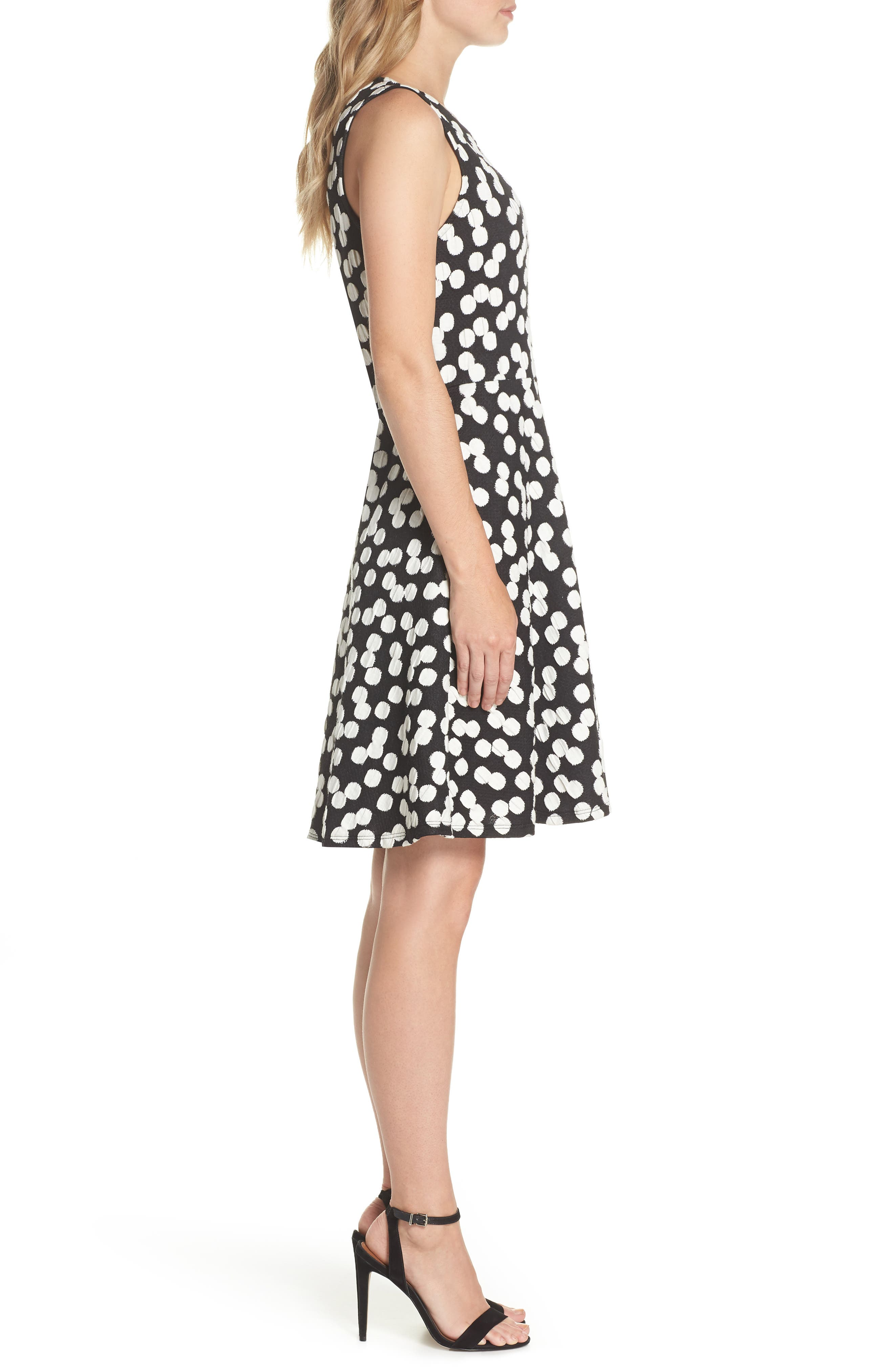 Ava Fit & Flare Dress,                             Alternate thumbnail 3, color,                             001